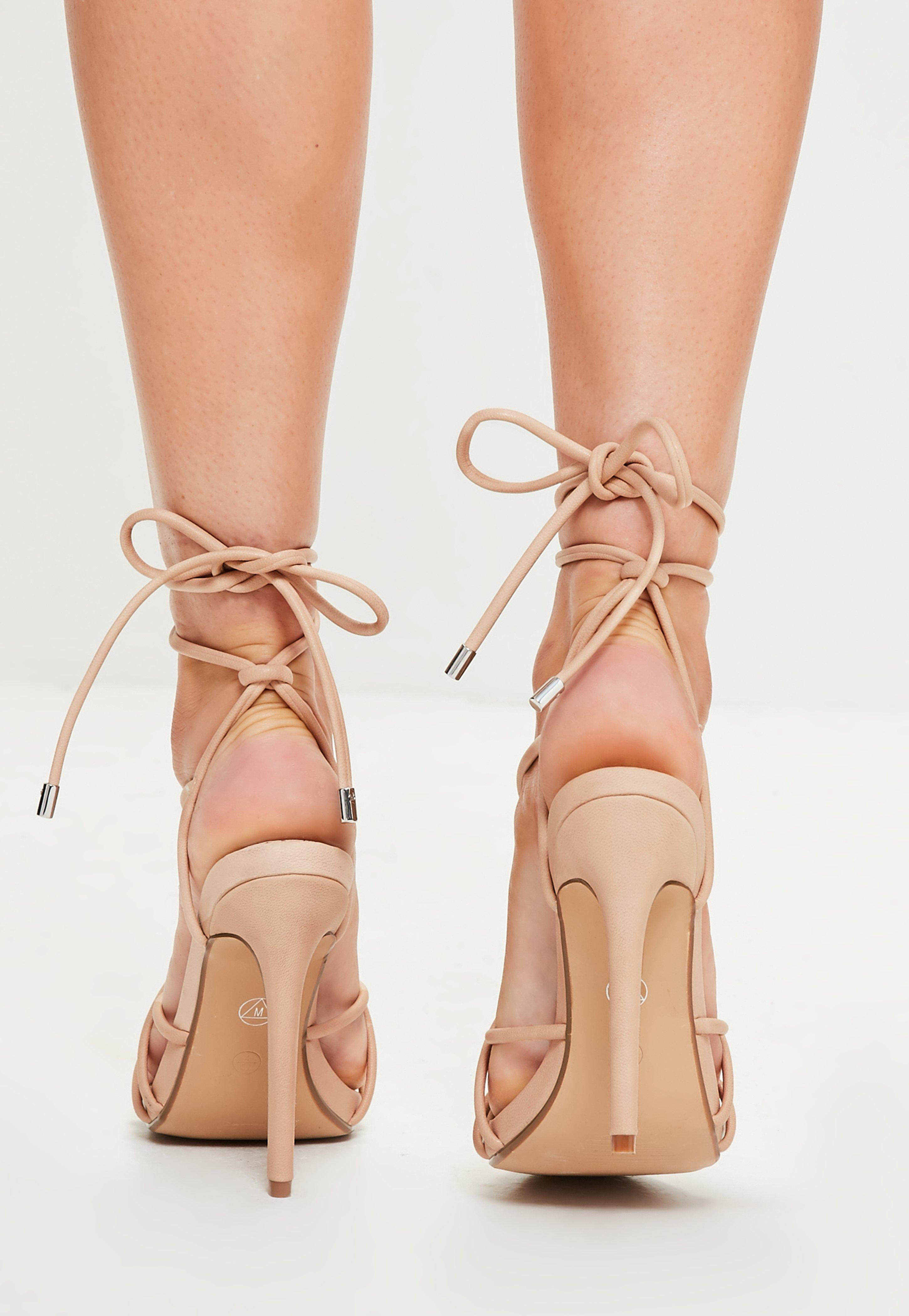 9eee2cecad4 Missguided Nude Rounded Strap Gladiator Heeled Sandals in Natural - Lyst