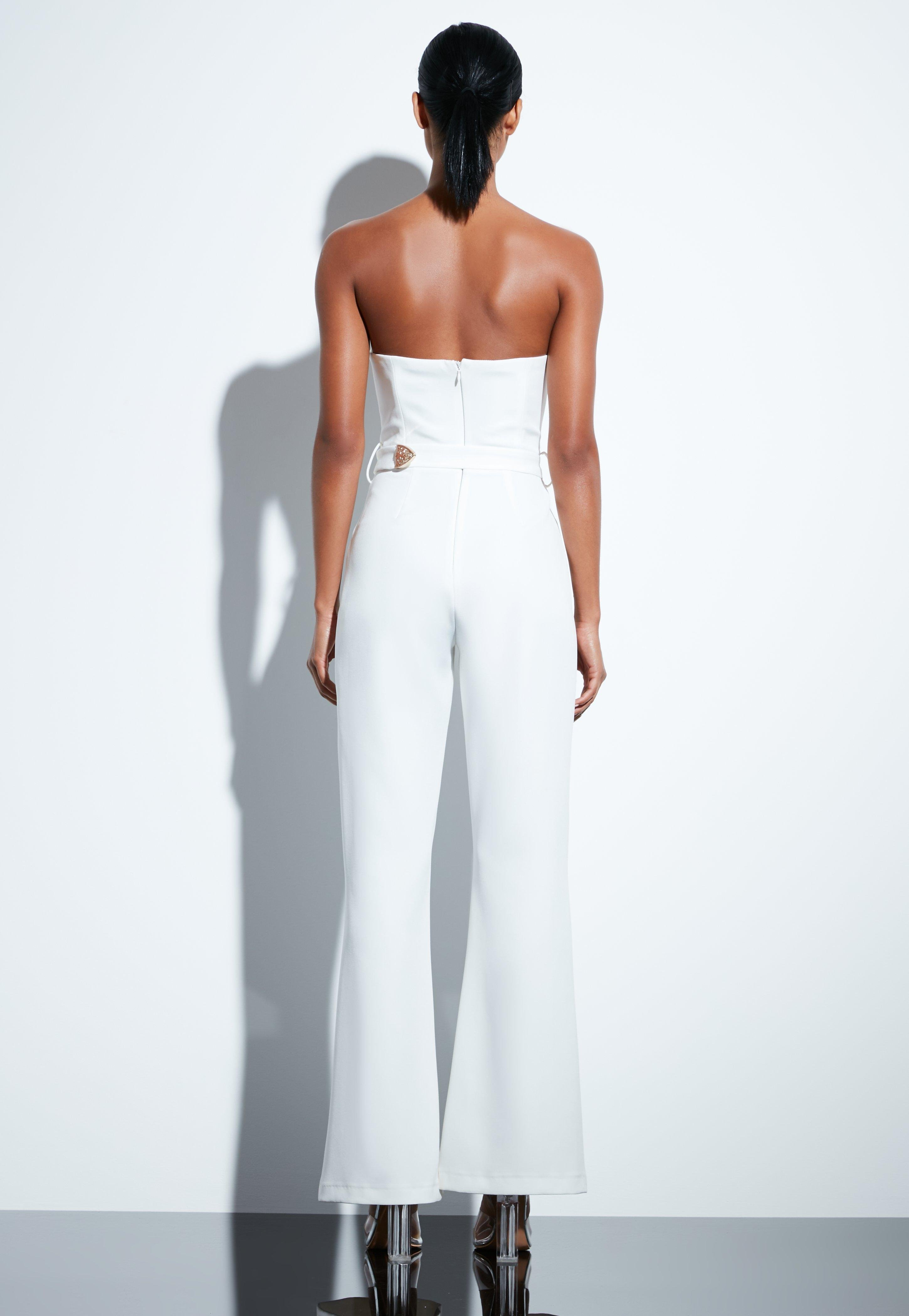 05c8d1eb5f1 Missguided - Peace + Love White Plunge Gold Belted Jumpsuit - Lyst. View  fullscreen