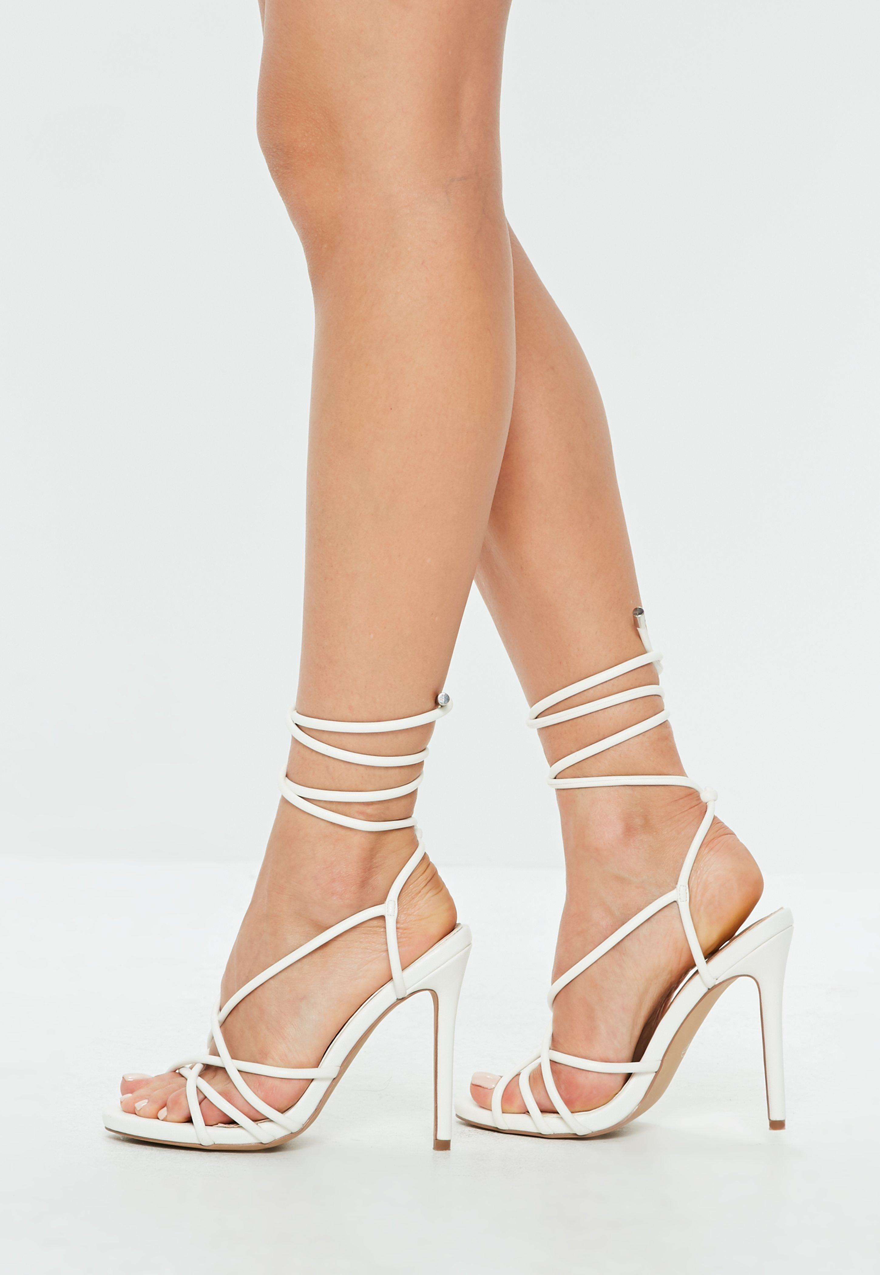 39e12a432b5d Lyst - Missguided White Faux Leather Tie Up Gladiator Sandals in White