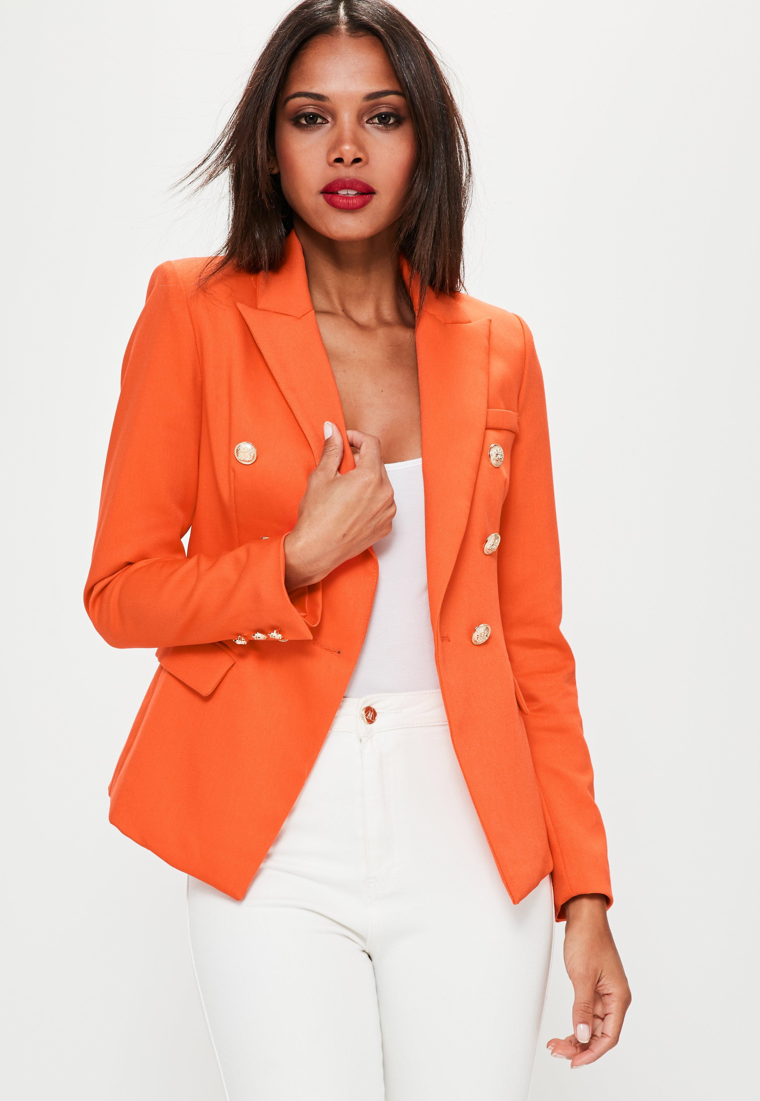 Lyst Missguided Orange Tailored Military Jacket In Orange