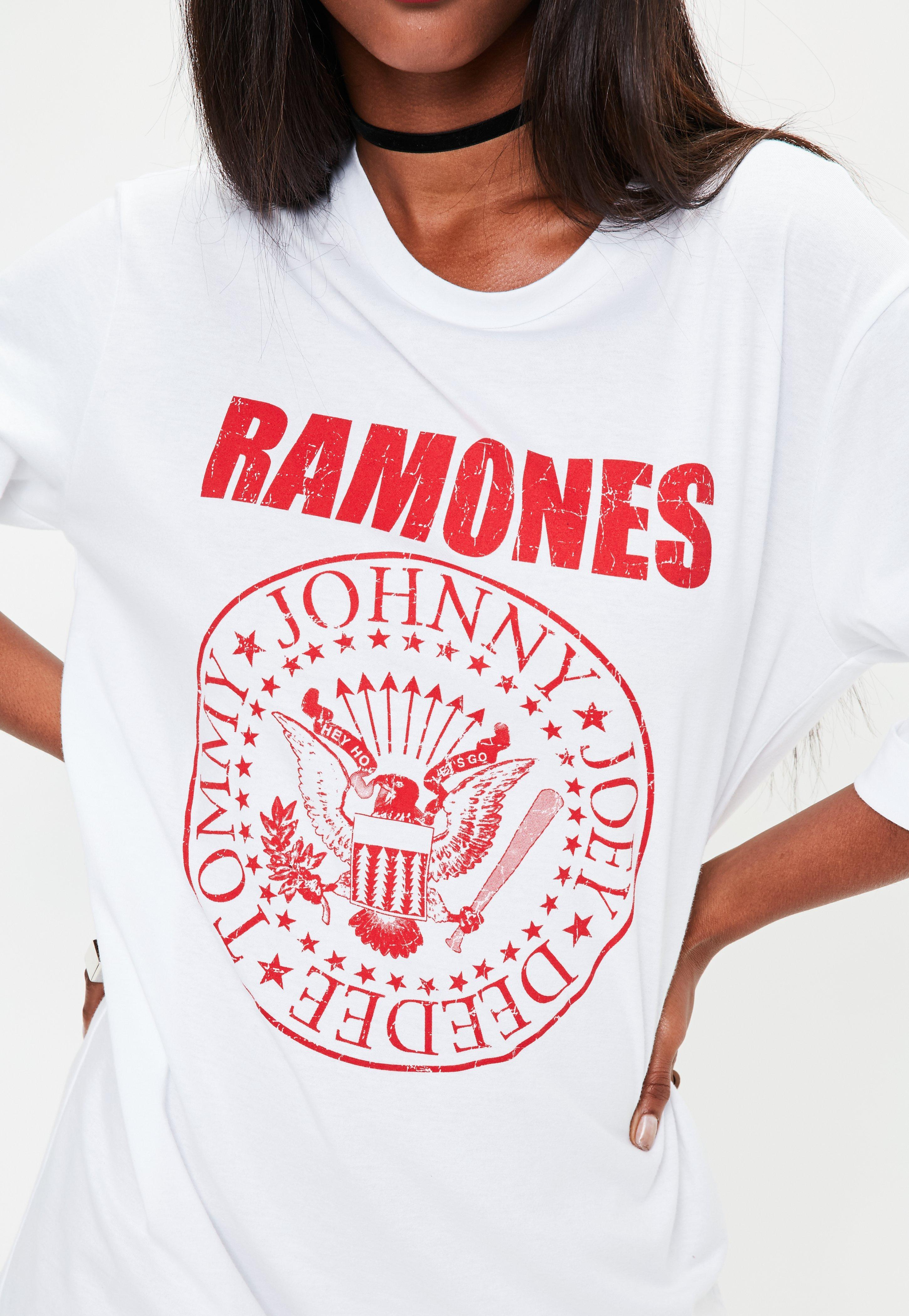 4f08a4ca4 Missguided White Oversized Ramones Graphic T-shirt Dress in White - Lyst