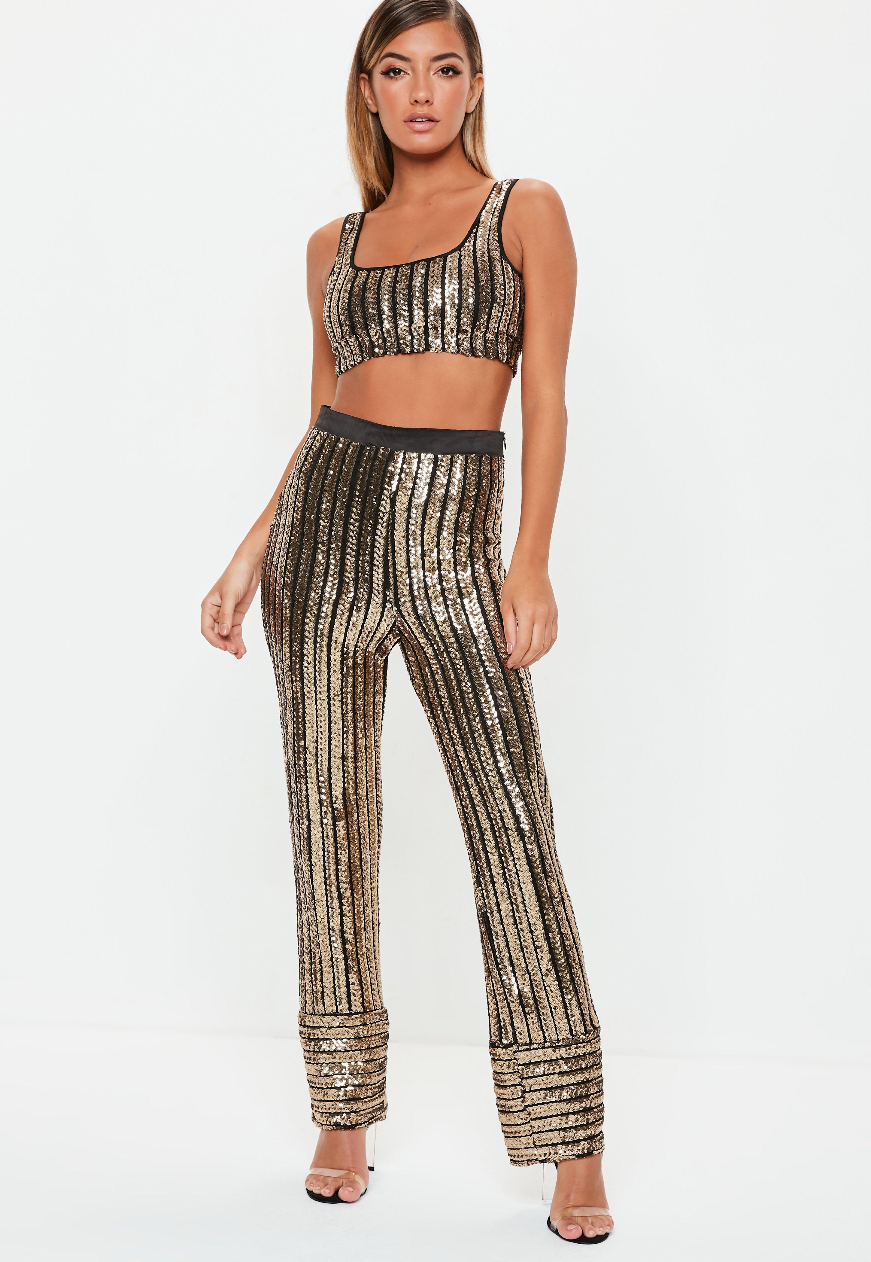 e4b379da813e78 Missguided - Petite Black And Gold Sequin Stripe Bralet - Lyst. View  fullscreen