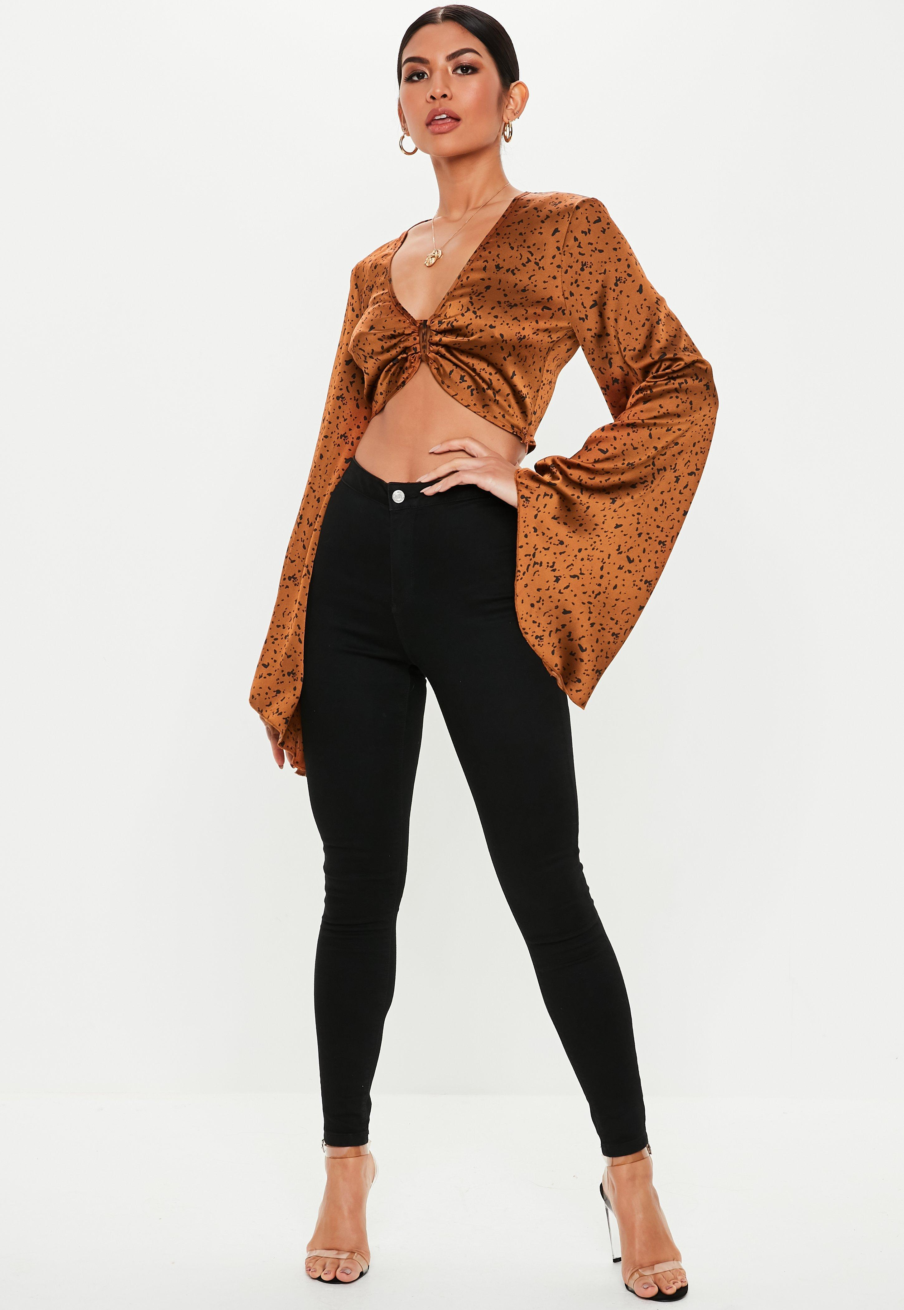 3e11260e9cd0e0 Missguided - Brown Rust Spot Flare Sleeve Crop Top - Lyst. View fullscreen