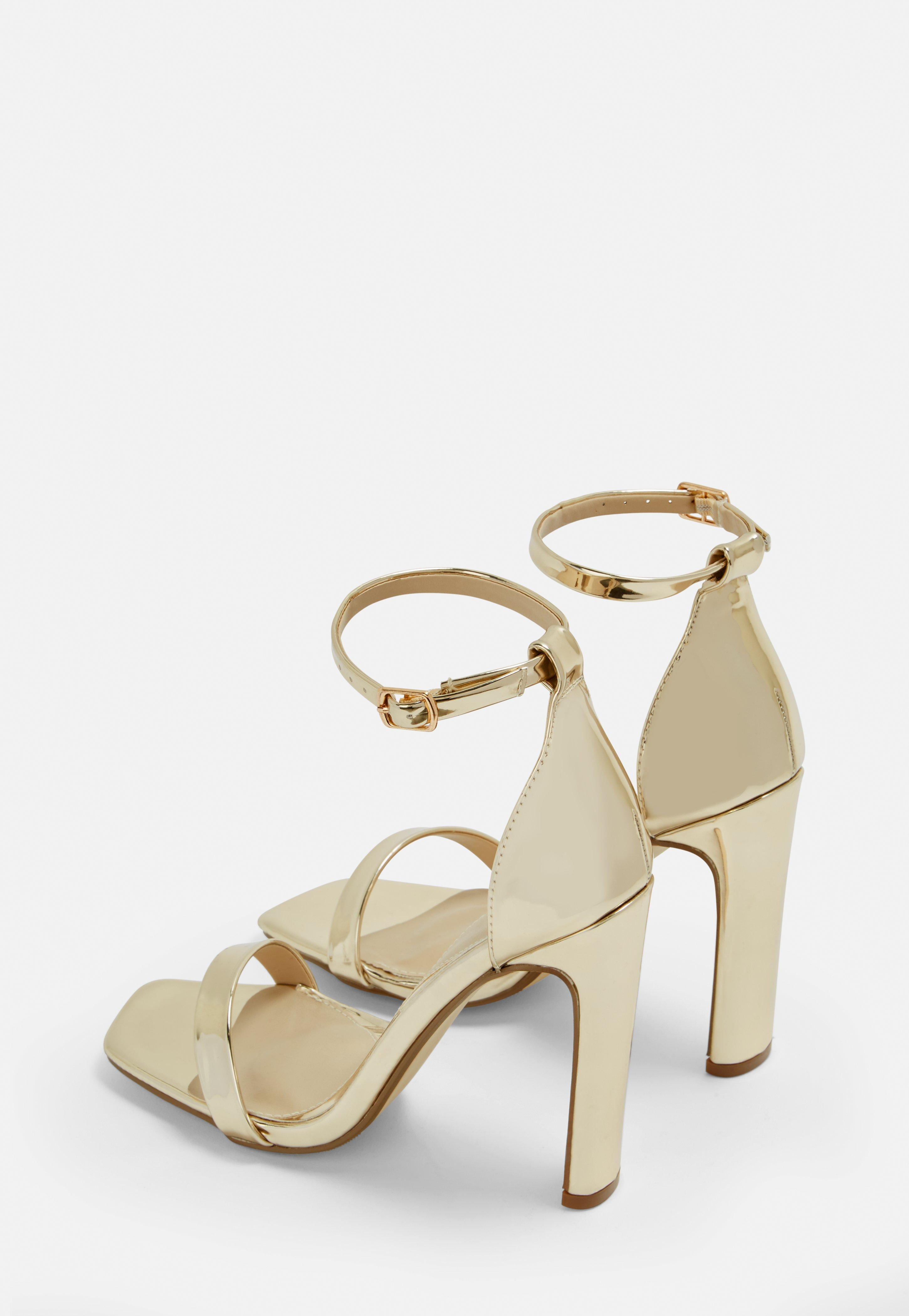 7cce2011e65 Missguided Gold Barely There Flared Block Heels in Metallic - Lyst