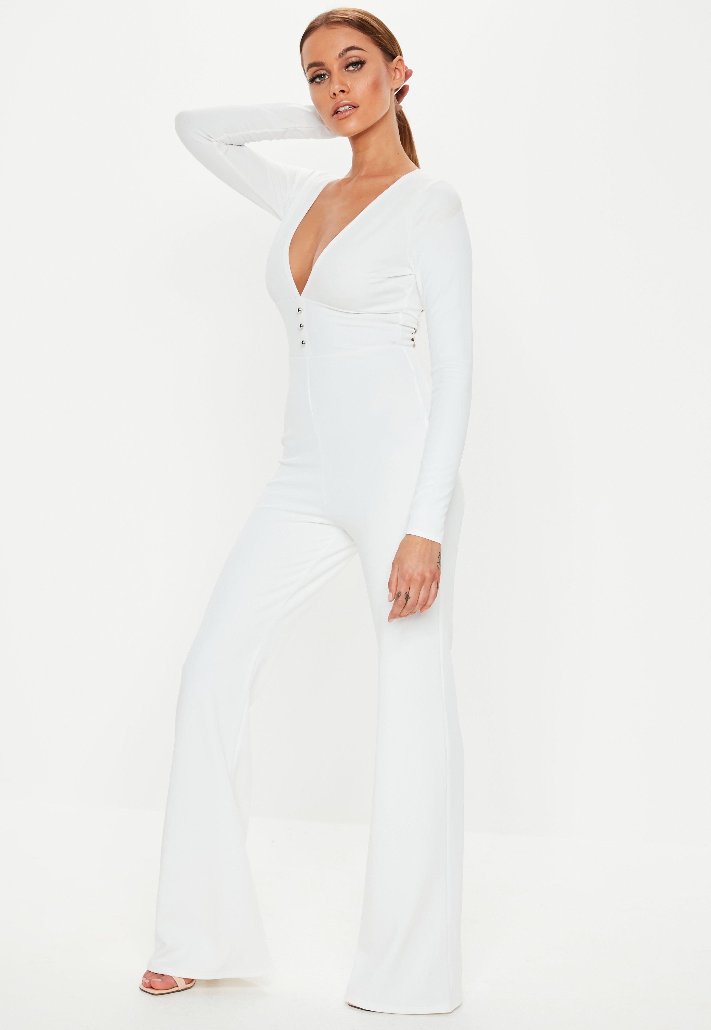 4434c7577b7 Missguided - White Plunge Button Front Wide Leg Jumpsuit - Lyst. View  fullscreen