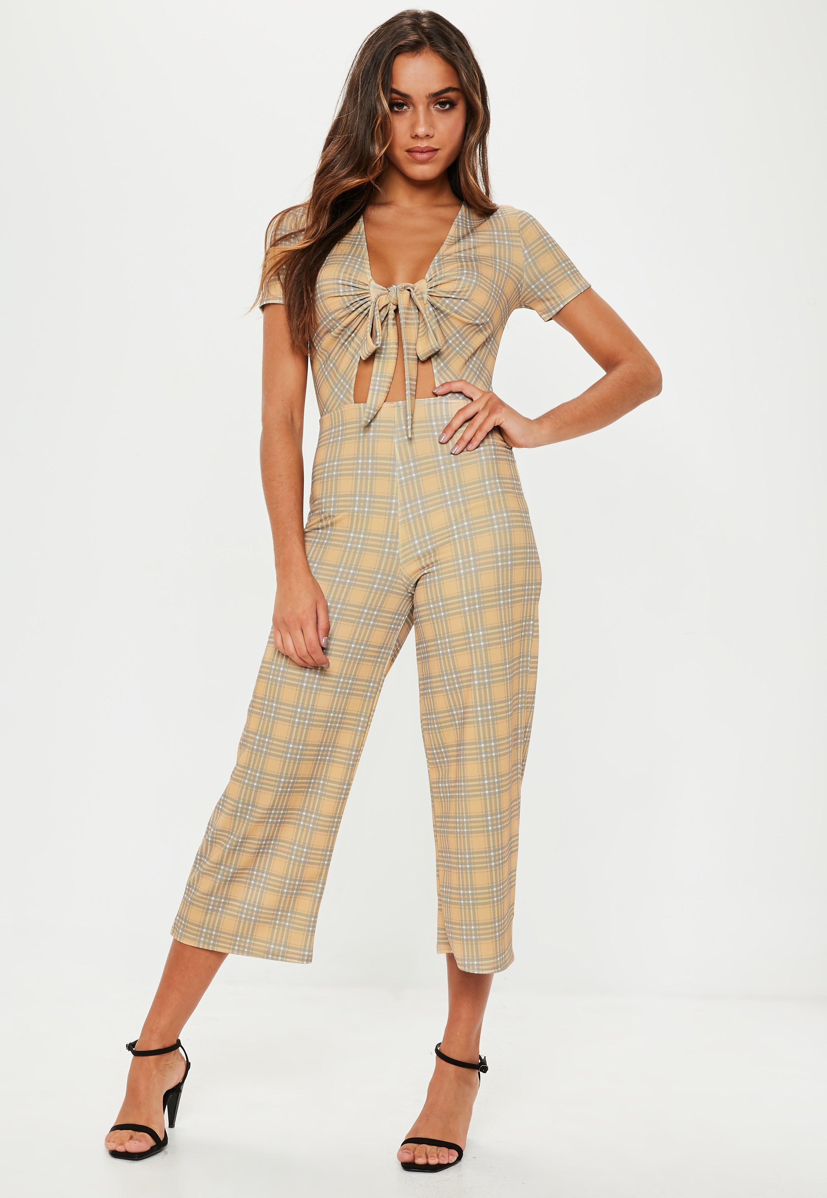 0268fc779963 Lyst - Missguided Mustard Check Tie Front Culotte Jumpsuit in Natural