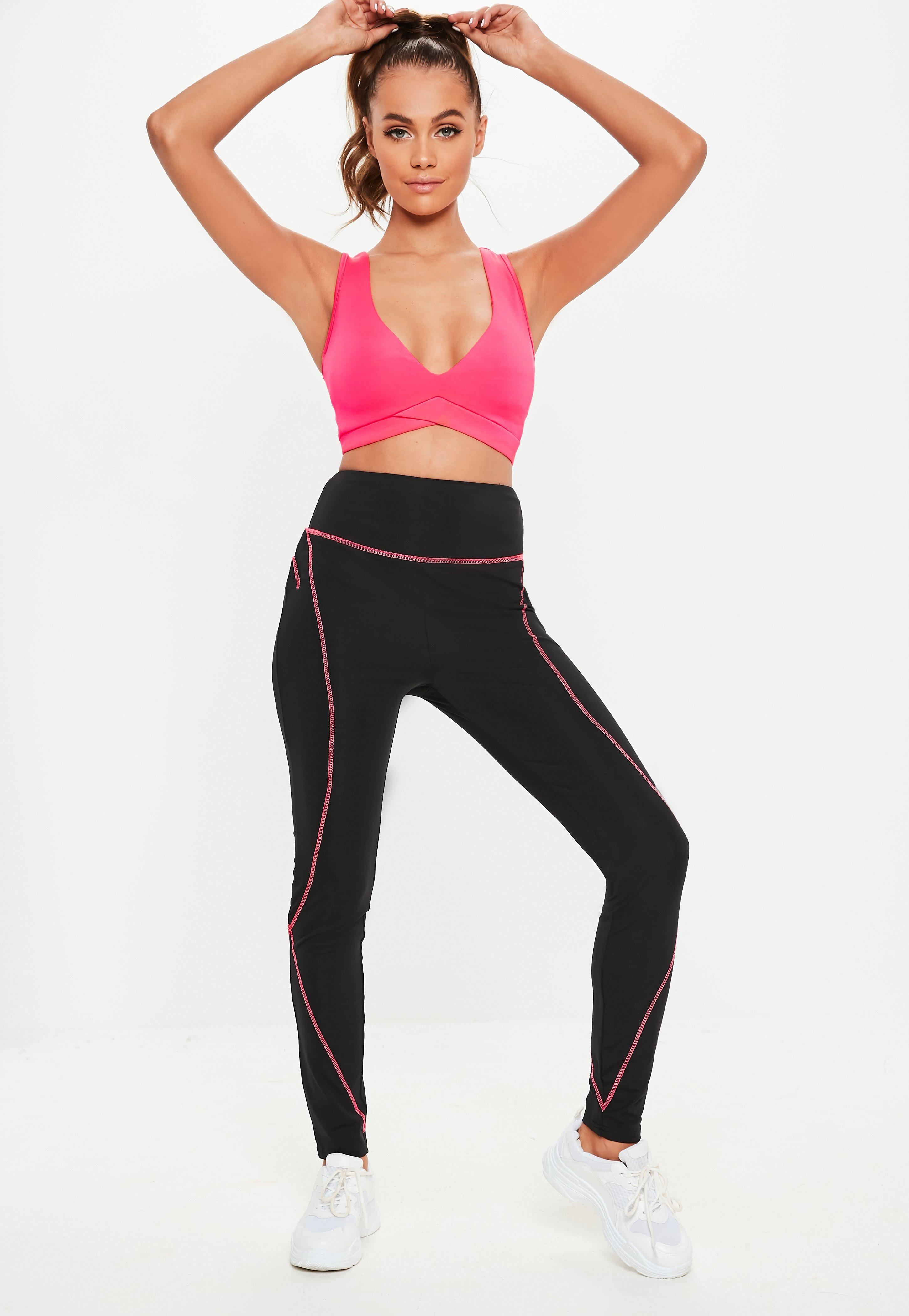 Contrast Lyst Black Active Leggings Missguided In Pink Stitch IErIq