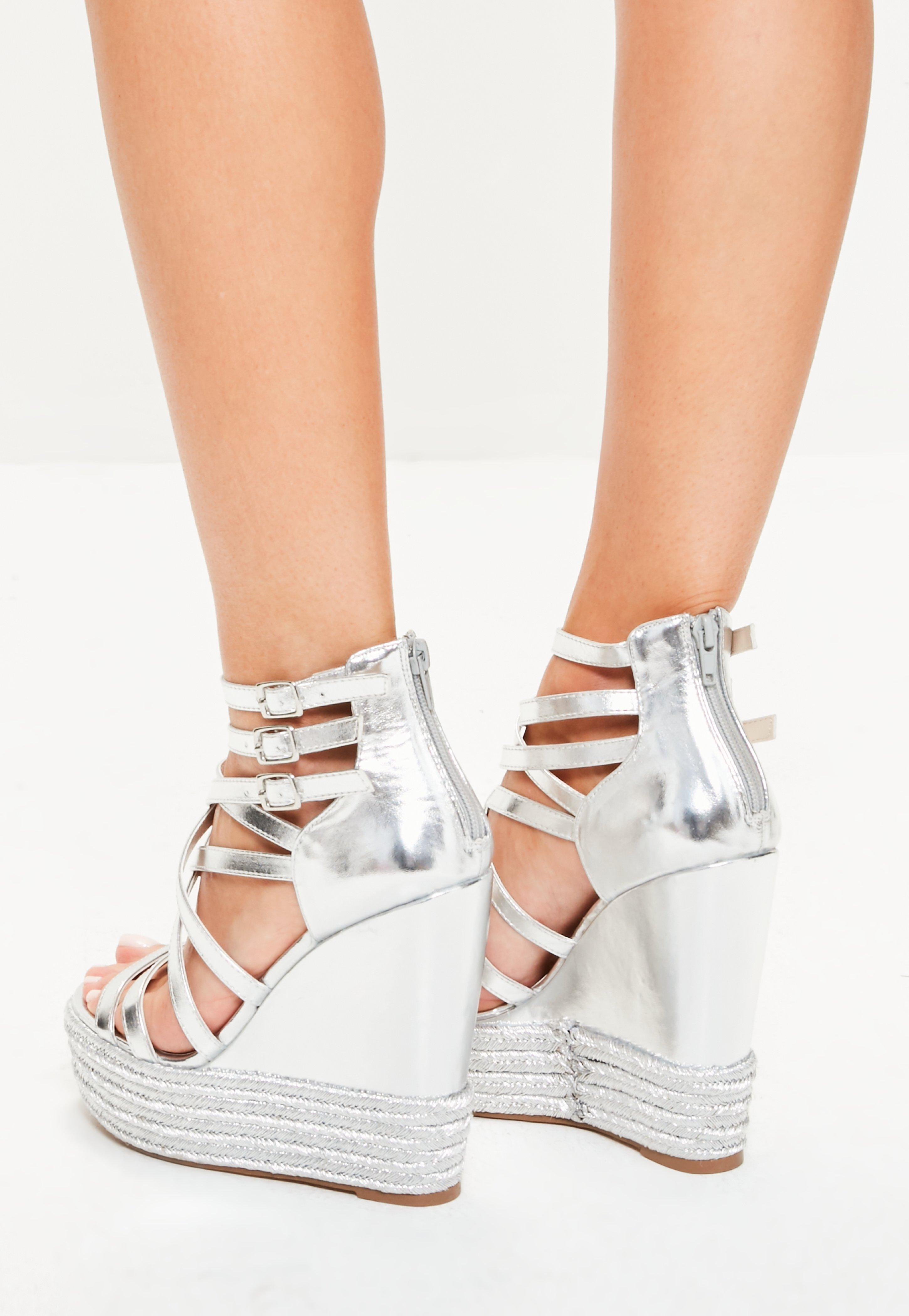 533b3e7f199 Lyst - Missguided Silver Metallic Platform Wedges in Metallic