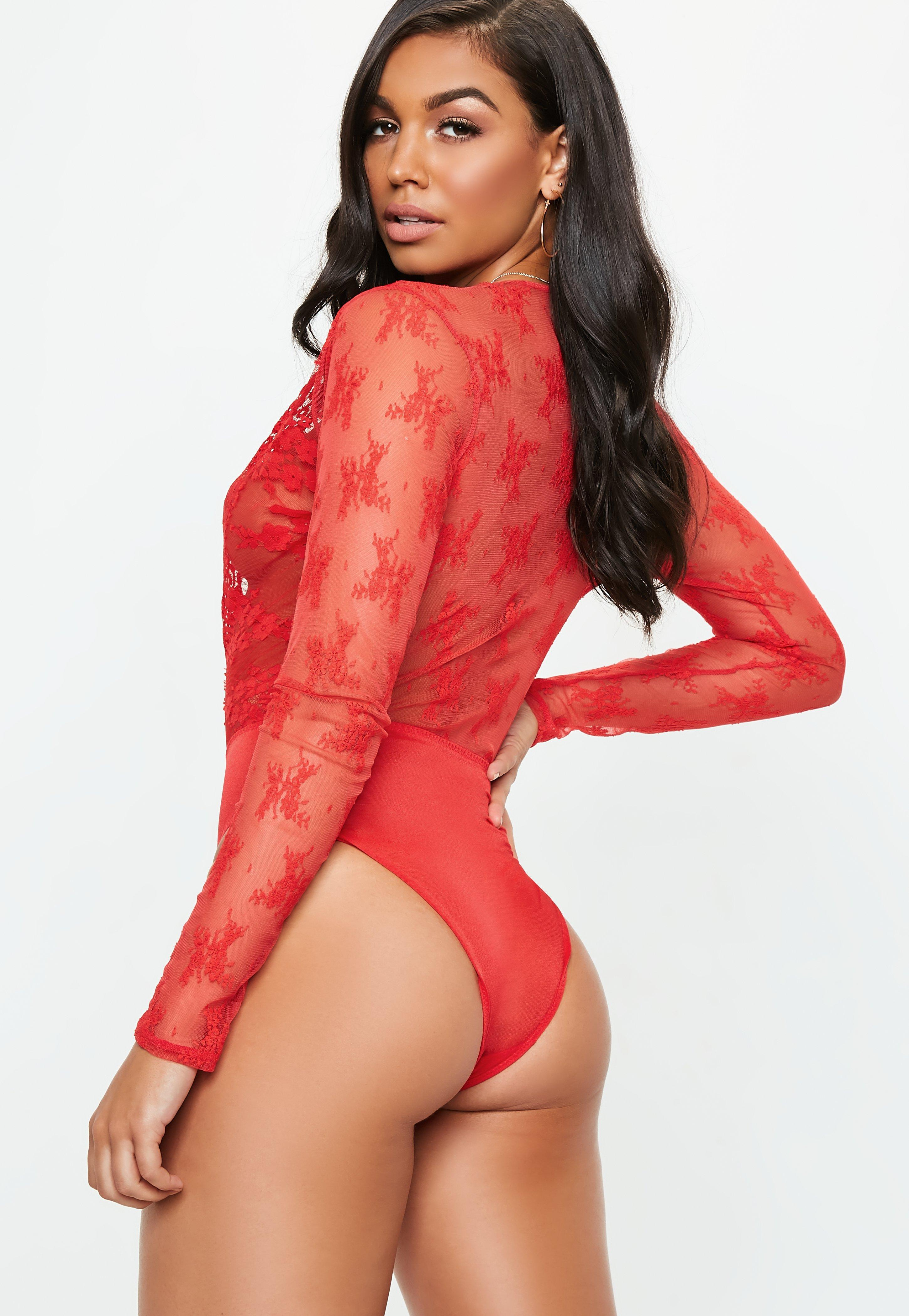 5a9db14159 Lyst - Missguided Red Eyelash Lace Extreme Plunge Bodysuit in Red