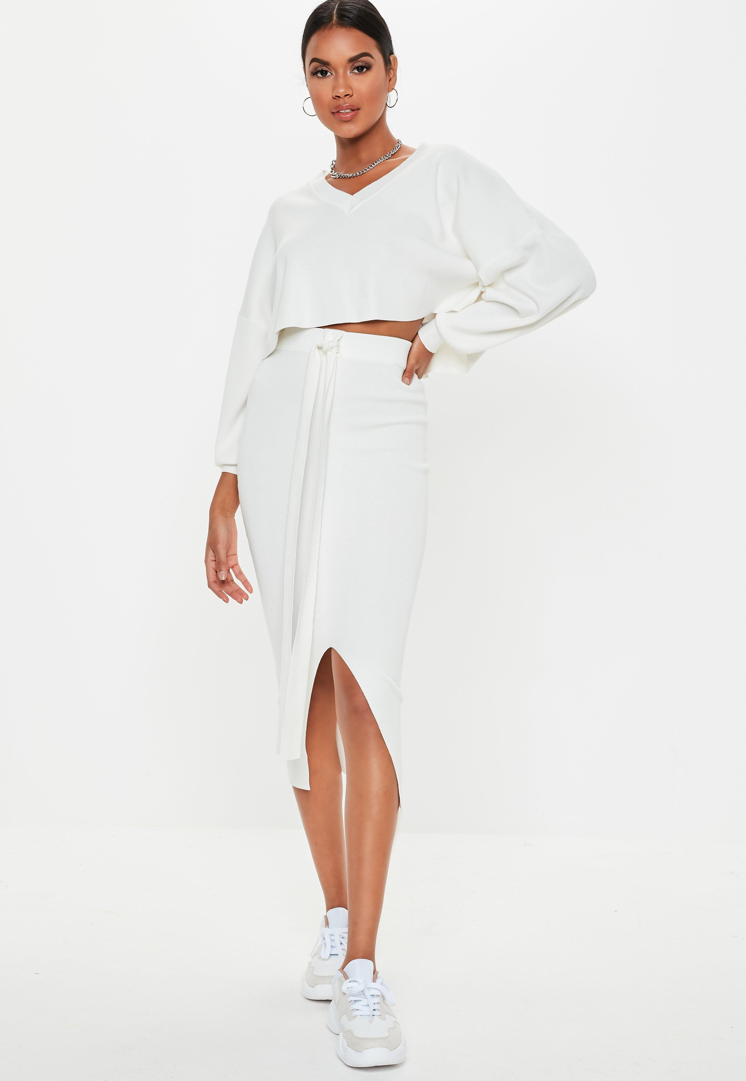 33e851c71848f Lyst - Missguided White V Neck Balloon Sleeve Co Ord Jumper in White