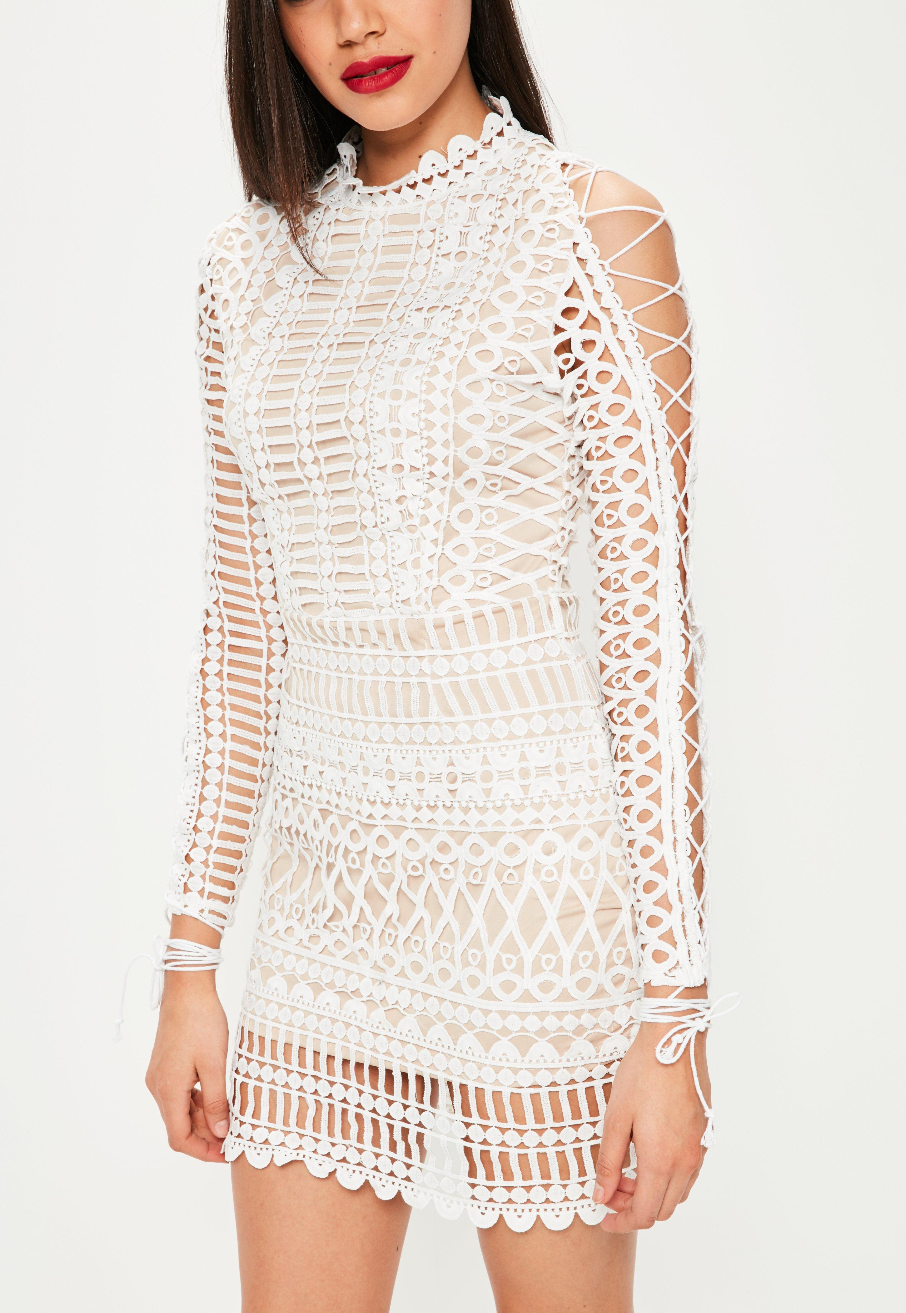 8ccf09efba8 Lyst - Missguided White Lace High Neck Lace Up Sleeve Bodycon Dress ...