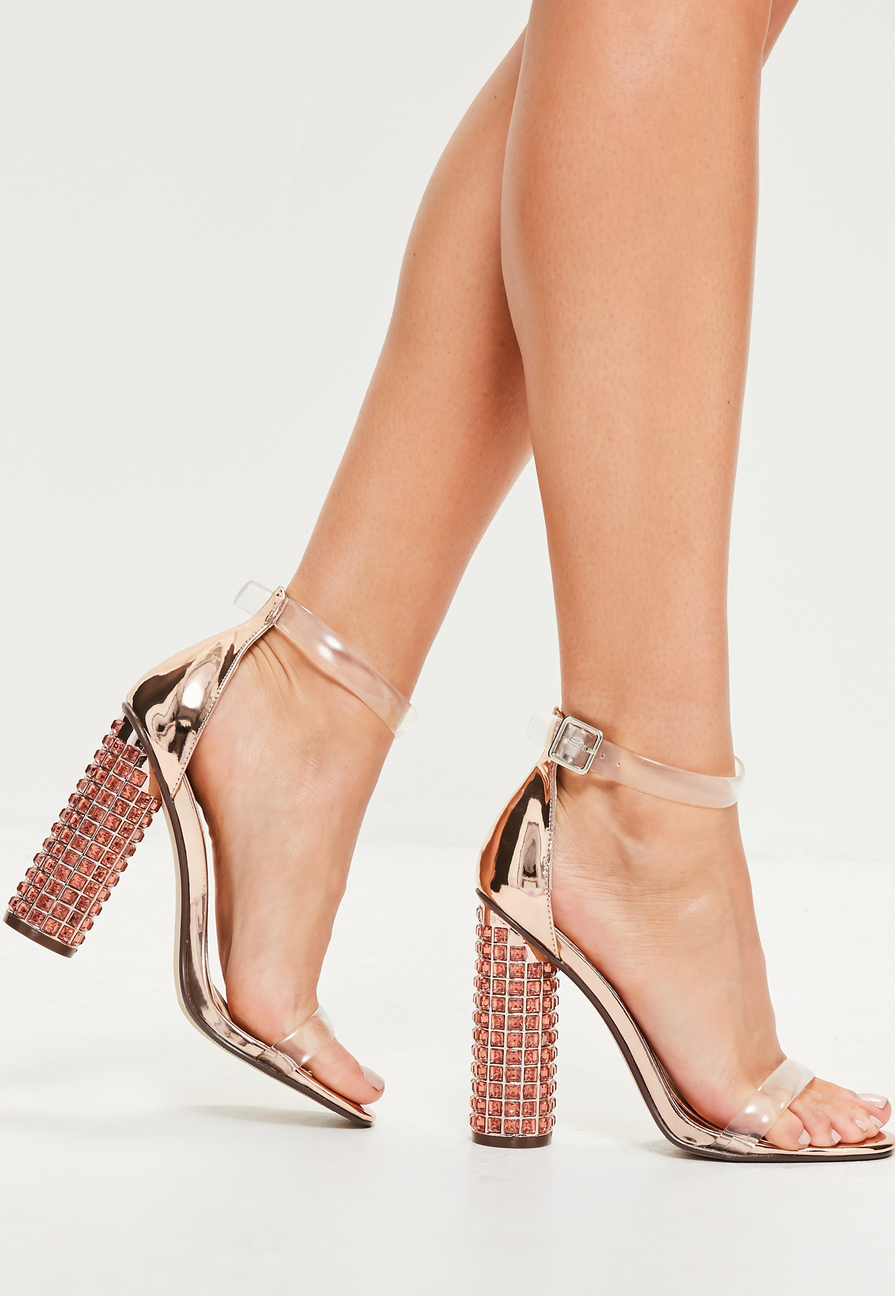Missguided Rose Gold Rounded Strap Feature Block Heeled
