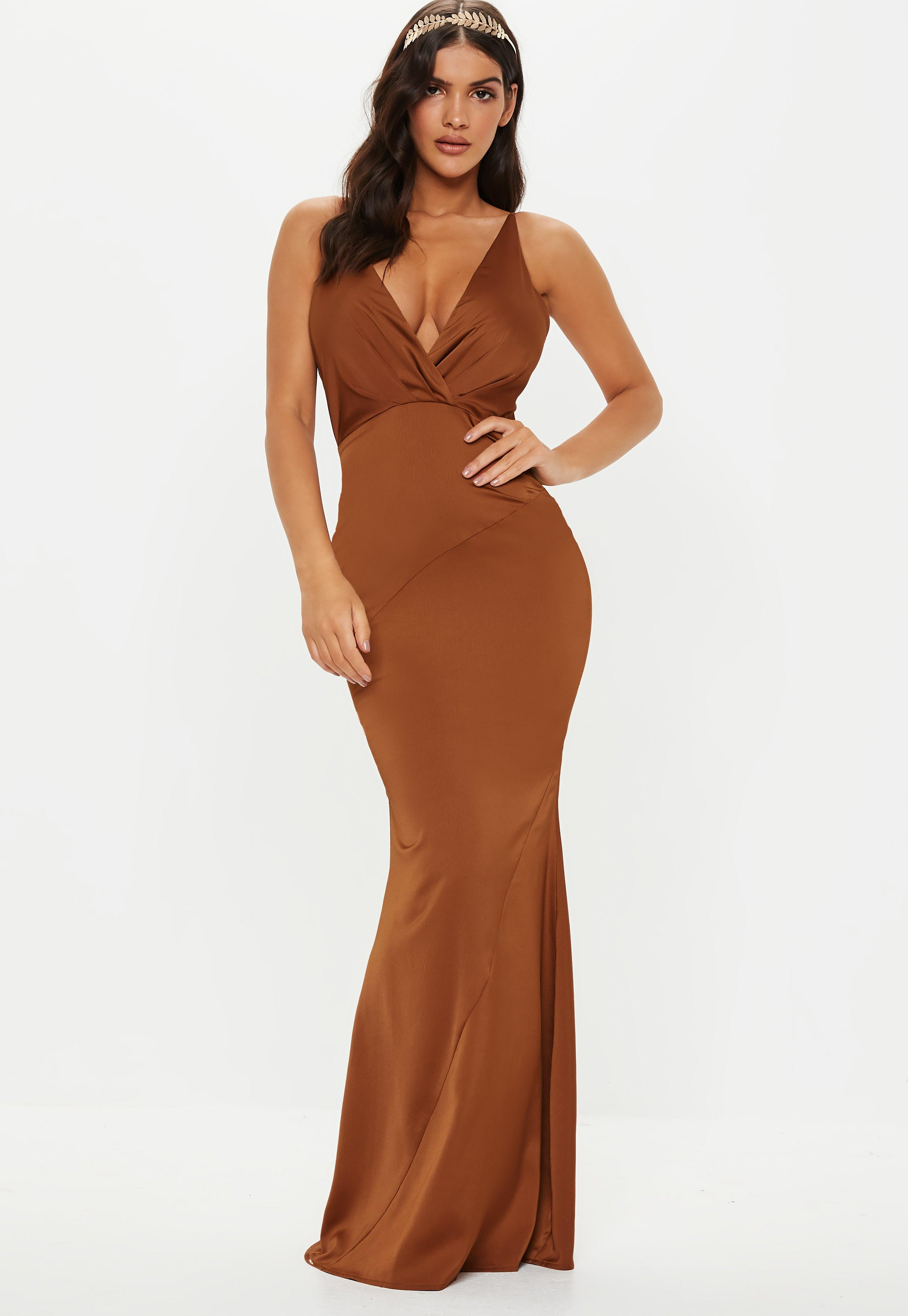 Lyst - Missguided Bridesmaid Bronze Satin V Plunge Maxi Dress in Brown 7e9dfd960