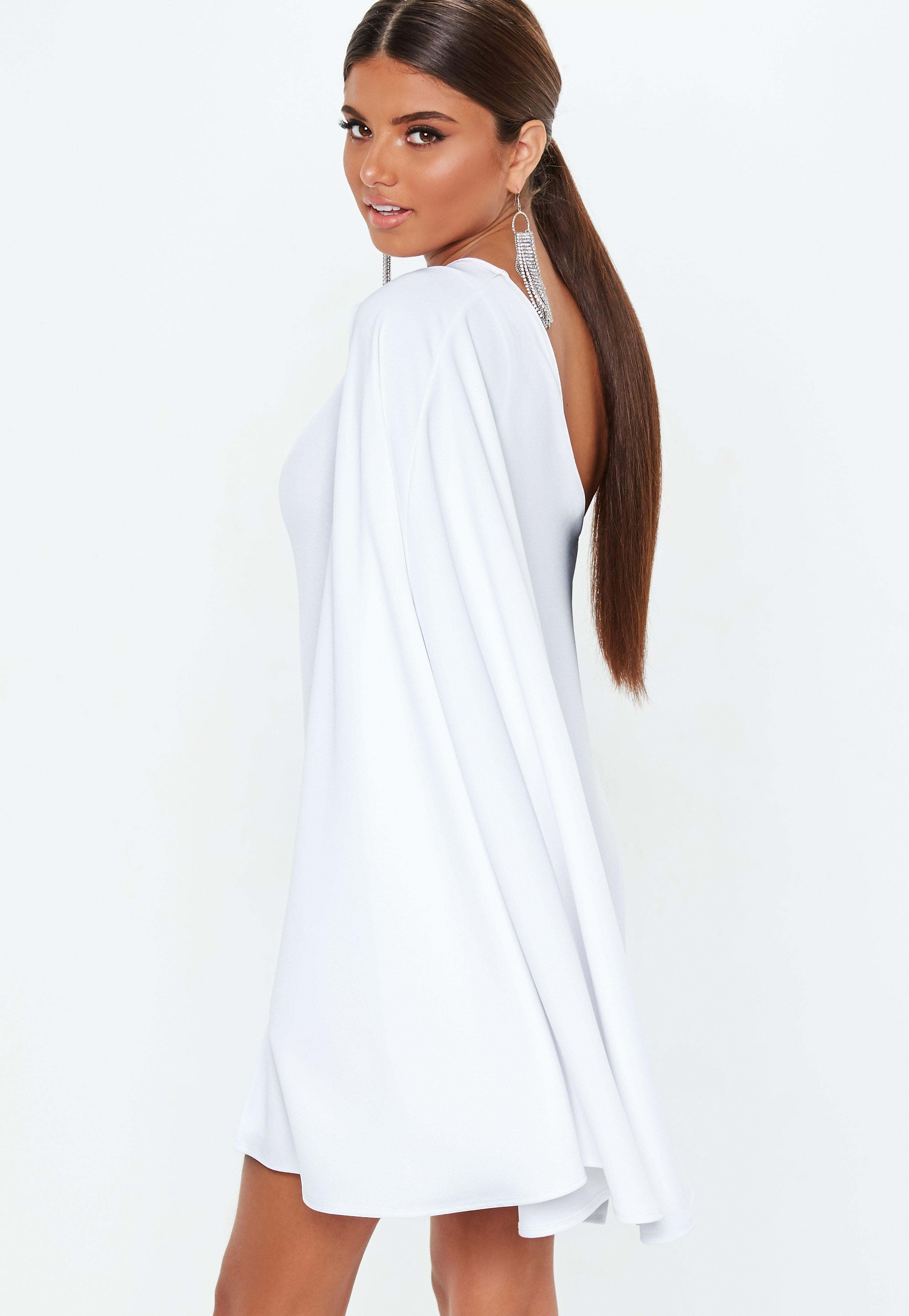 ce4862969db68 Lyst - Missguided White One Shoulder Cape Mini Dress in White