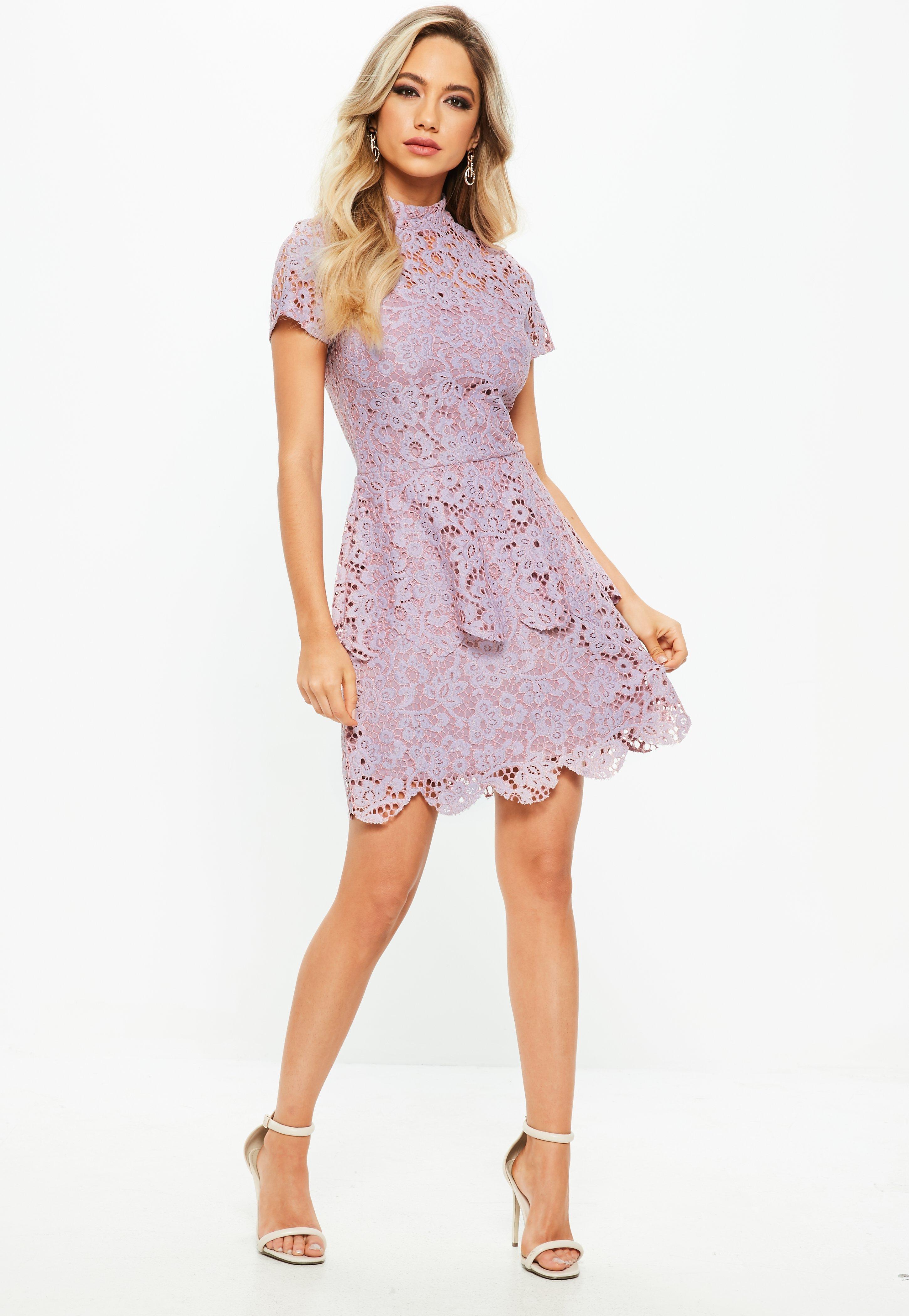 ca418f4c Missguided - Purple Petite Lilac Short Sleeve Lace High Neck Dress - Lyst.  View fullscreen