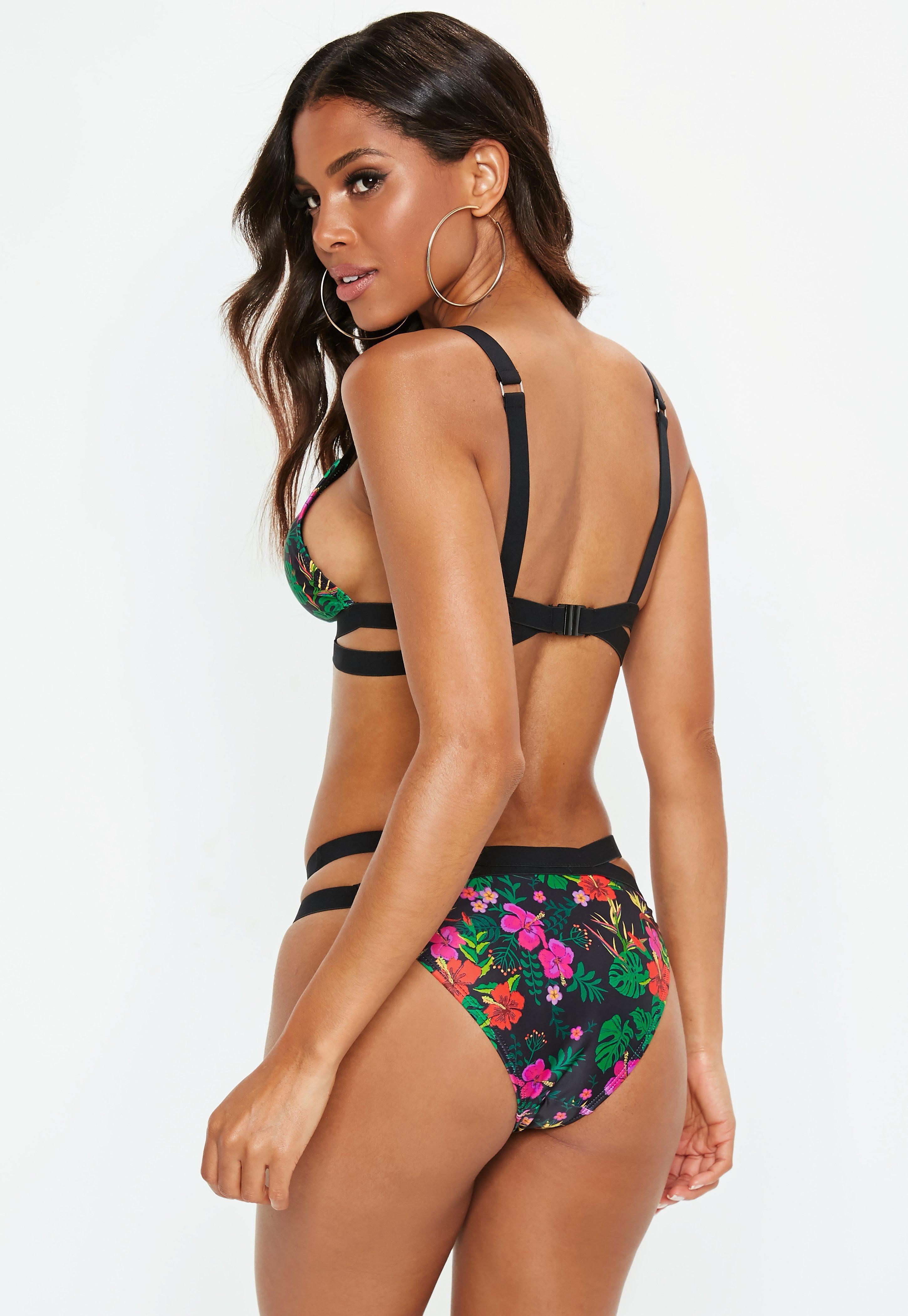 17105e7630 Lyst - Missguided Black Floral Print Double Crossover Strap Bikini ...