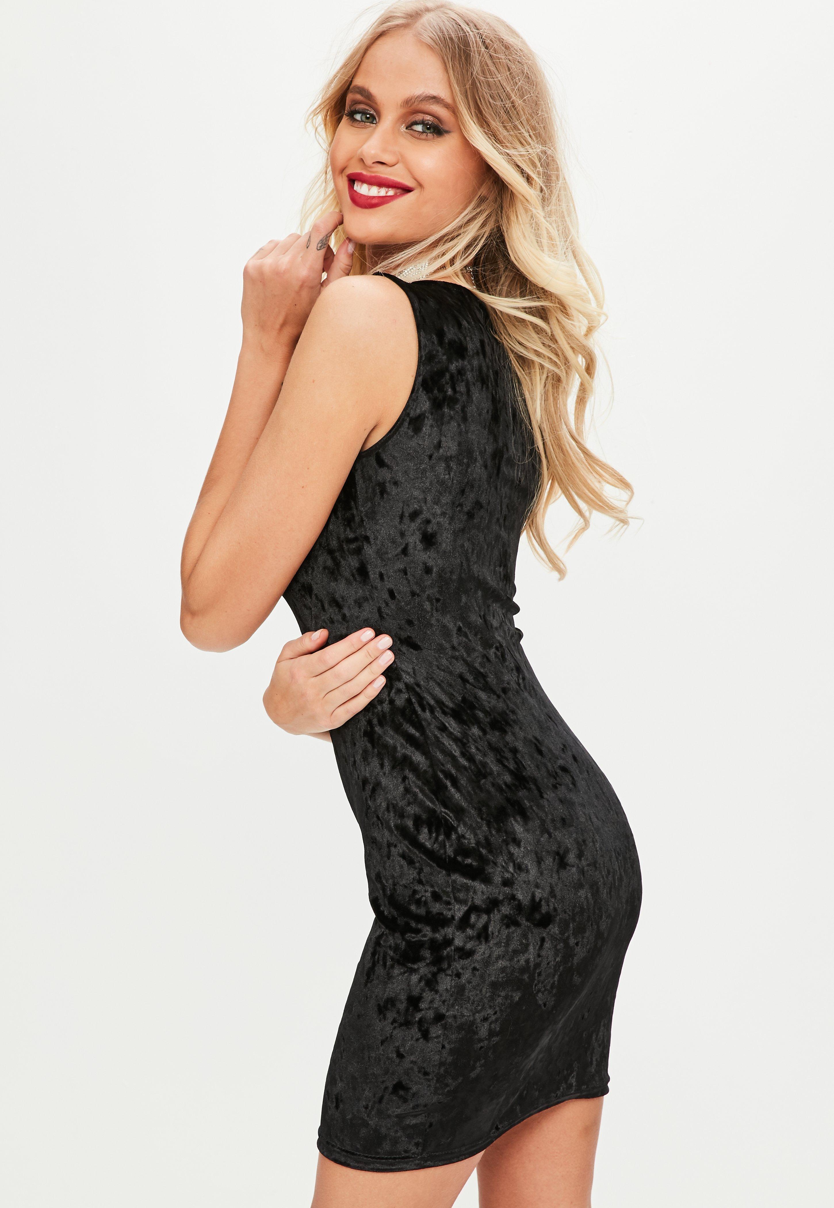 8ac5c7909fba09 Lyst - Missguided Black Velvet Sleeveless Plunge Mini Dress in Black