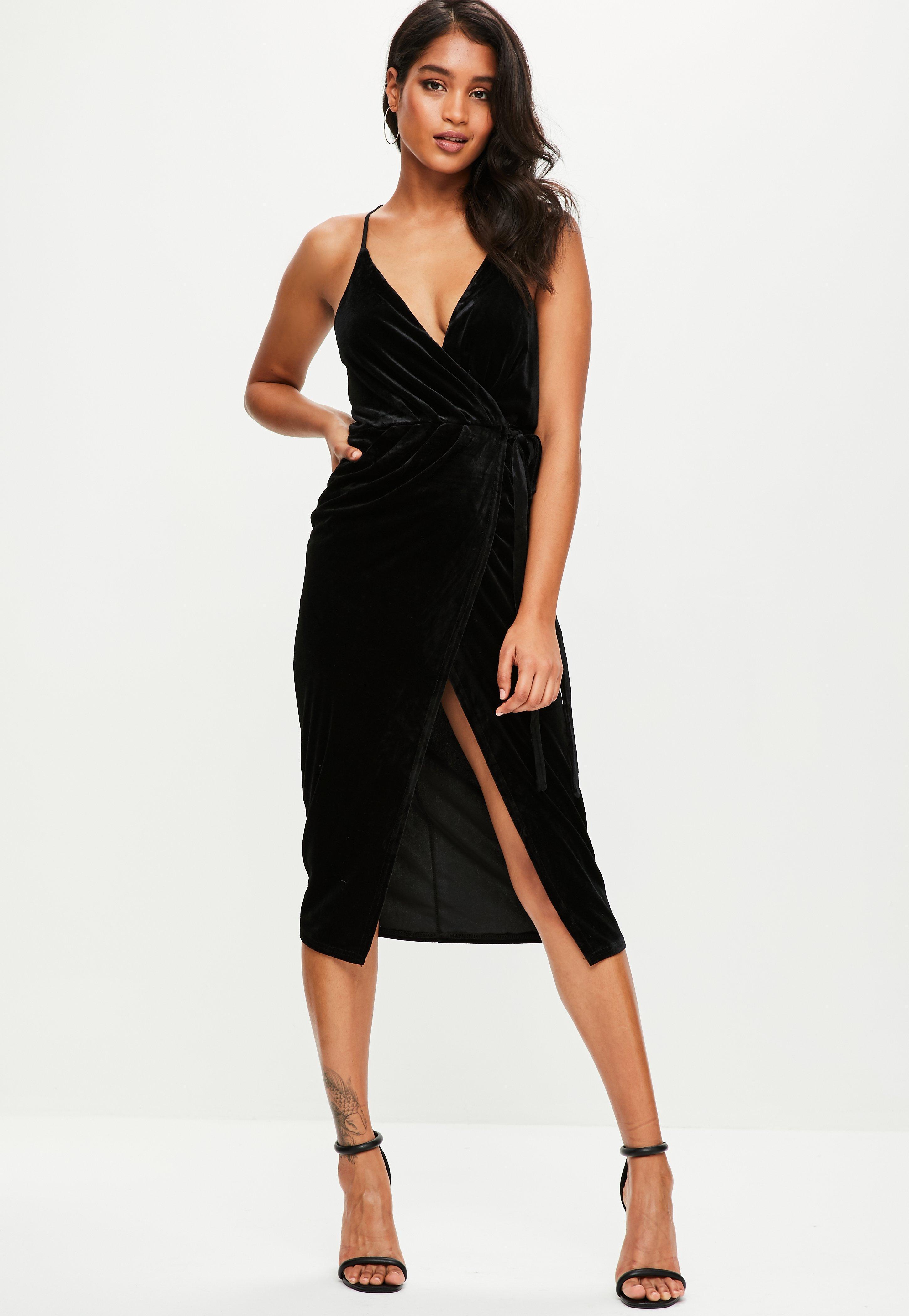 Missguided velvet racer high neck midi dress black in black lyst - Missguided Black Velvet Midi Cami Dress Lyst View Fullscreen