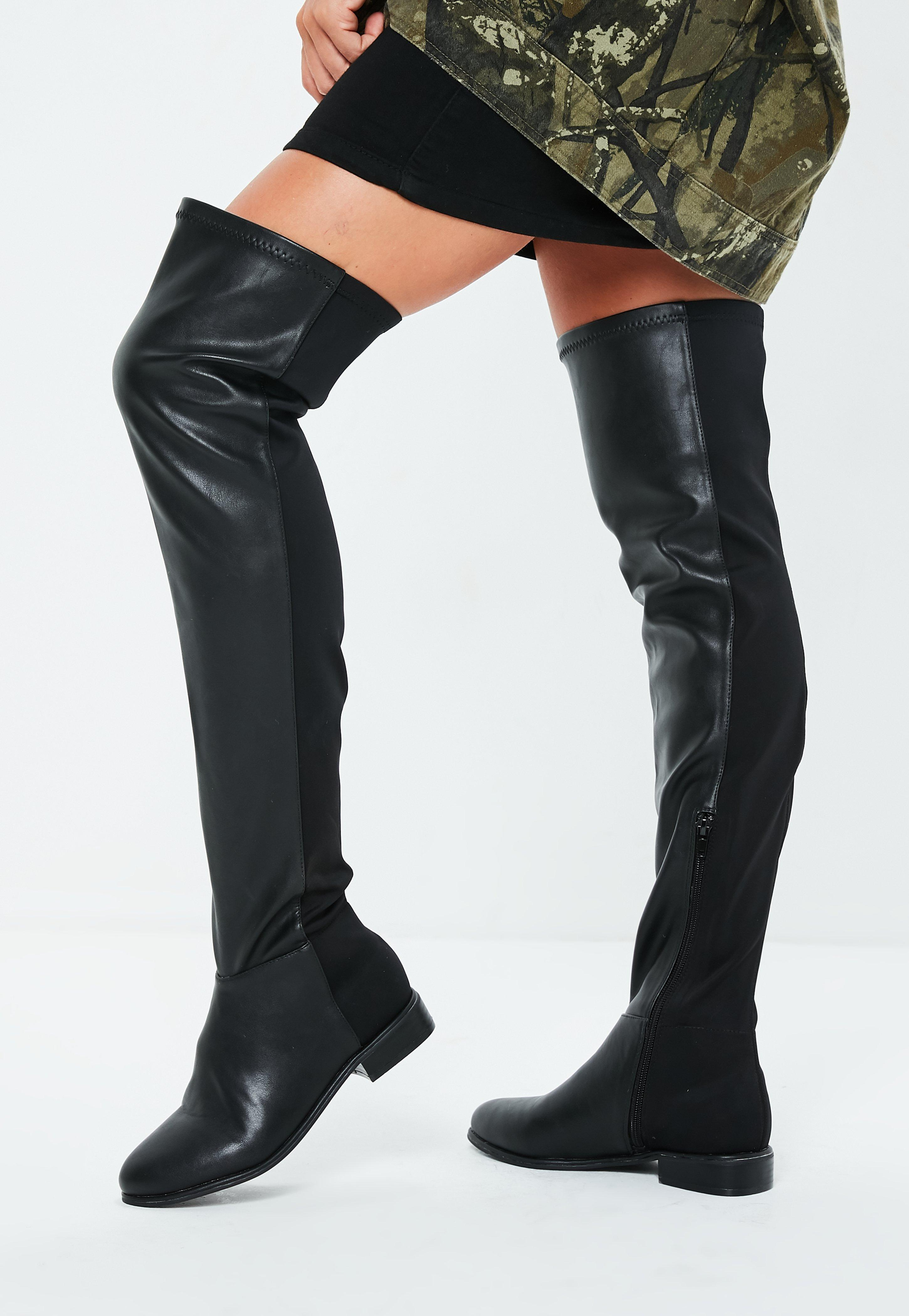 5e419b495b1 Missguided Black Faux Leather Flat Over The Knee Boots in Black - Lyst