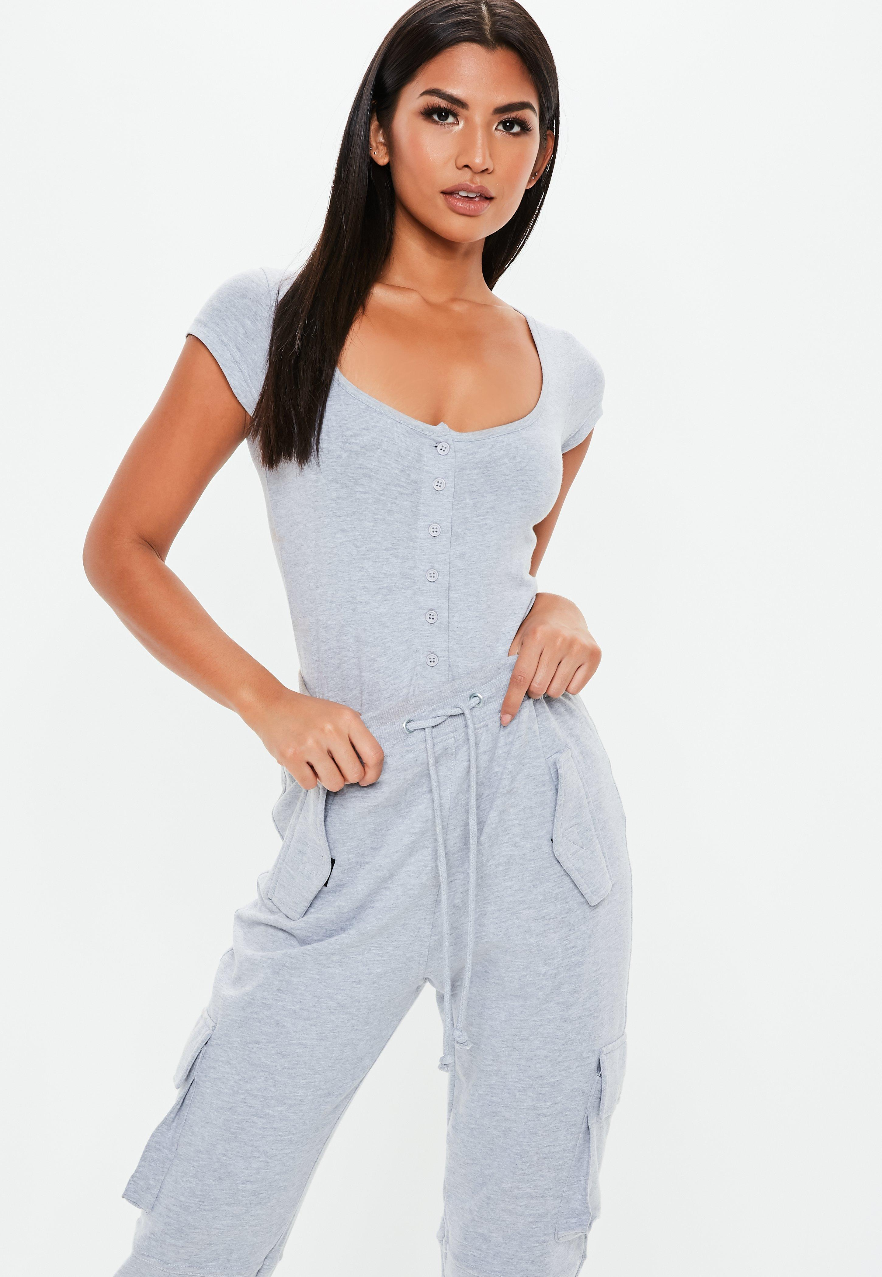9d352cebe3 Lyst - Missguided Gray Square Neck Button Front Bodysuit in Gray