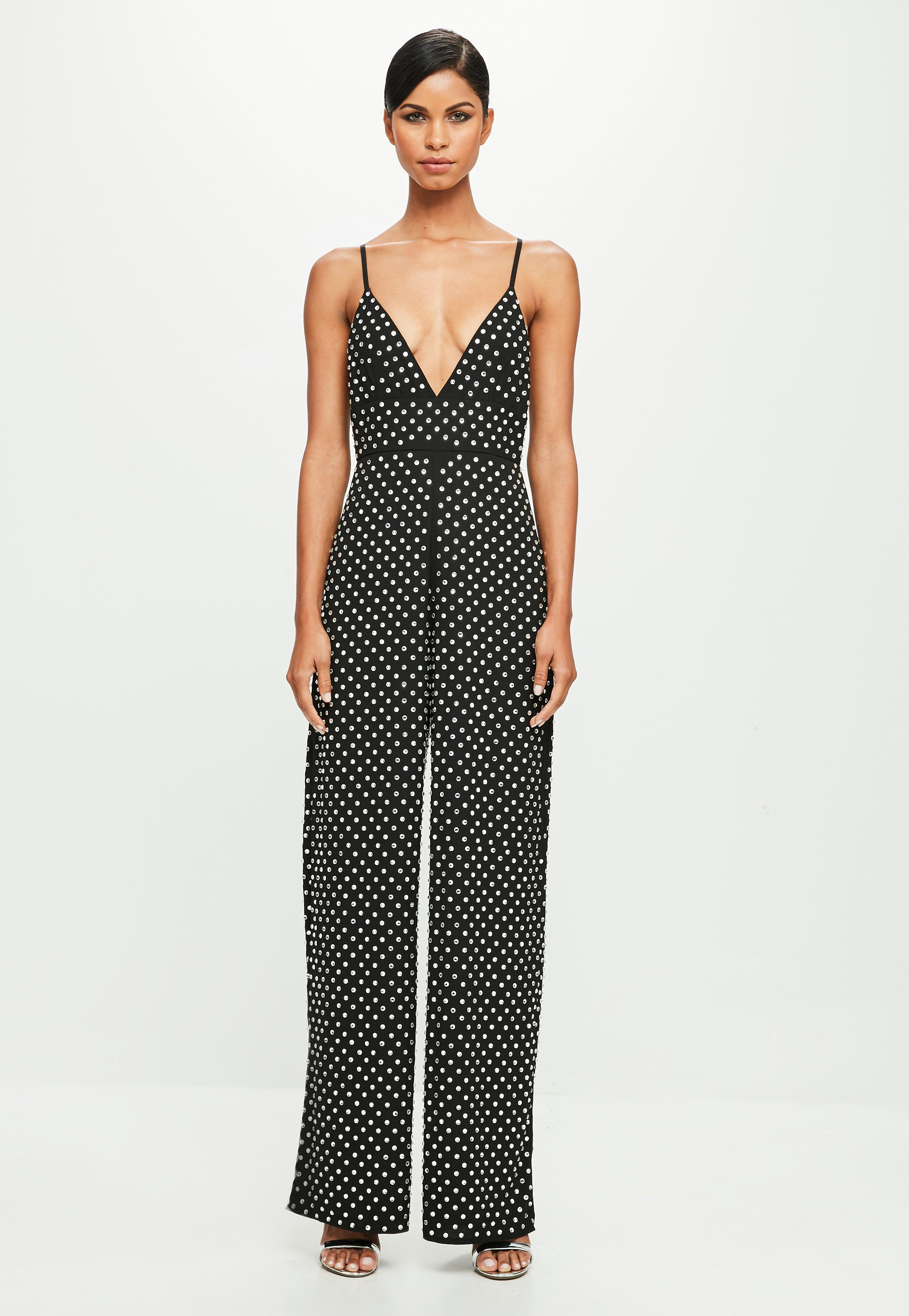 3a1798bff962 Missguided Peace + Love Black Strappy Hotfix Flared Jumpsuit in ...
