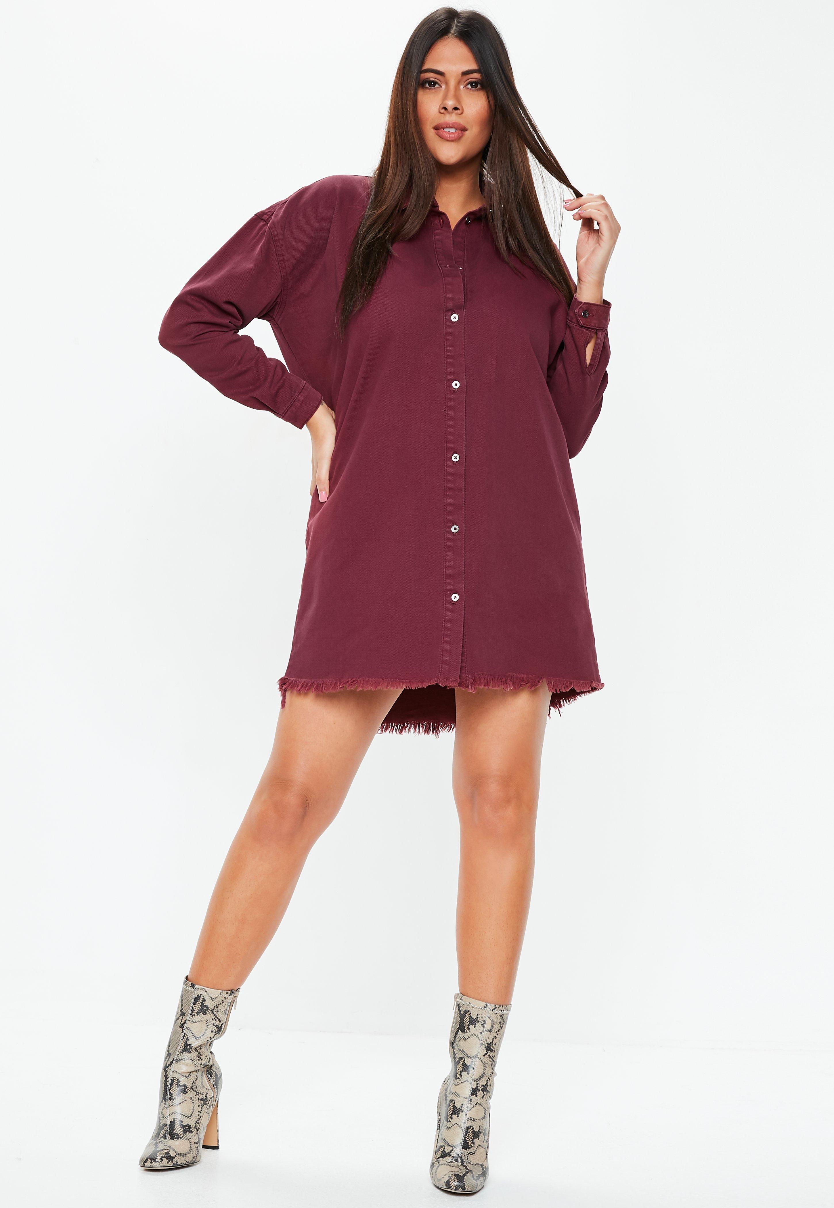 3f72cc262cc ... Plus Size Wine Oversized Denim Shirt Dress - Lyst. View fullscreen