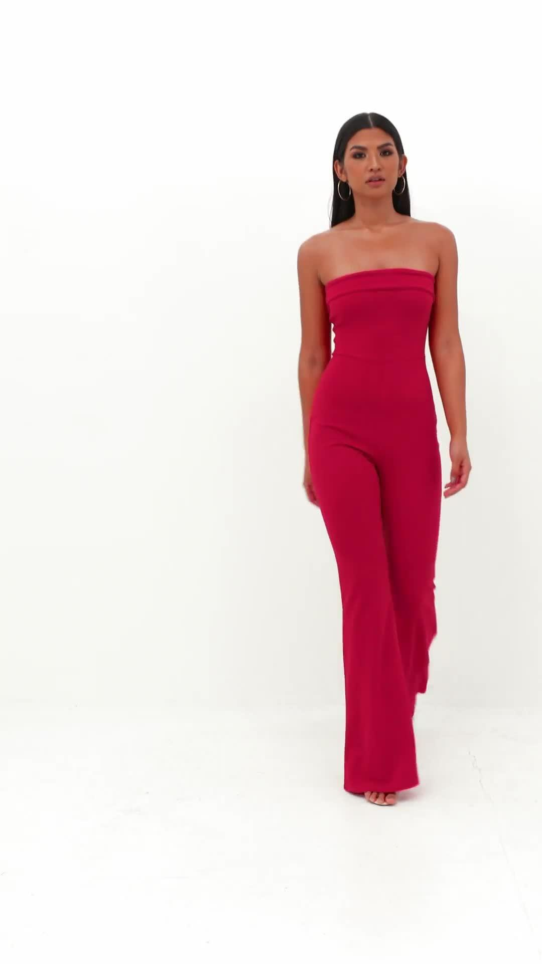 4ad569678a4 Missguided Red Bandeau Fold Jumpsuit in Red - Lyst