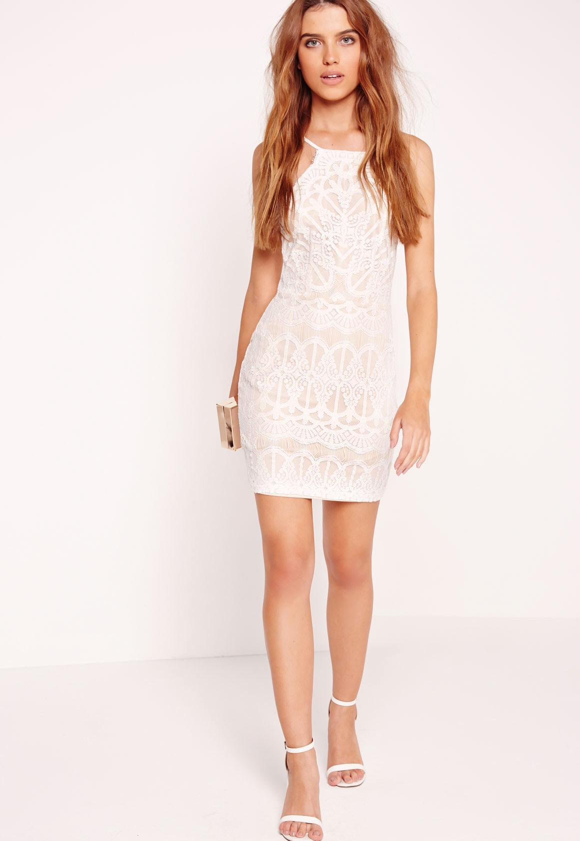 c8eb1ed0669 Missguided Lace Strappy Bodycon Dress Nude white in White - Lyst