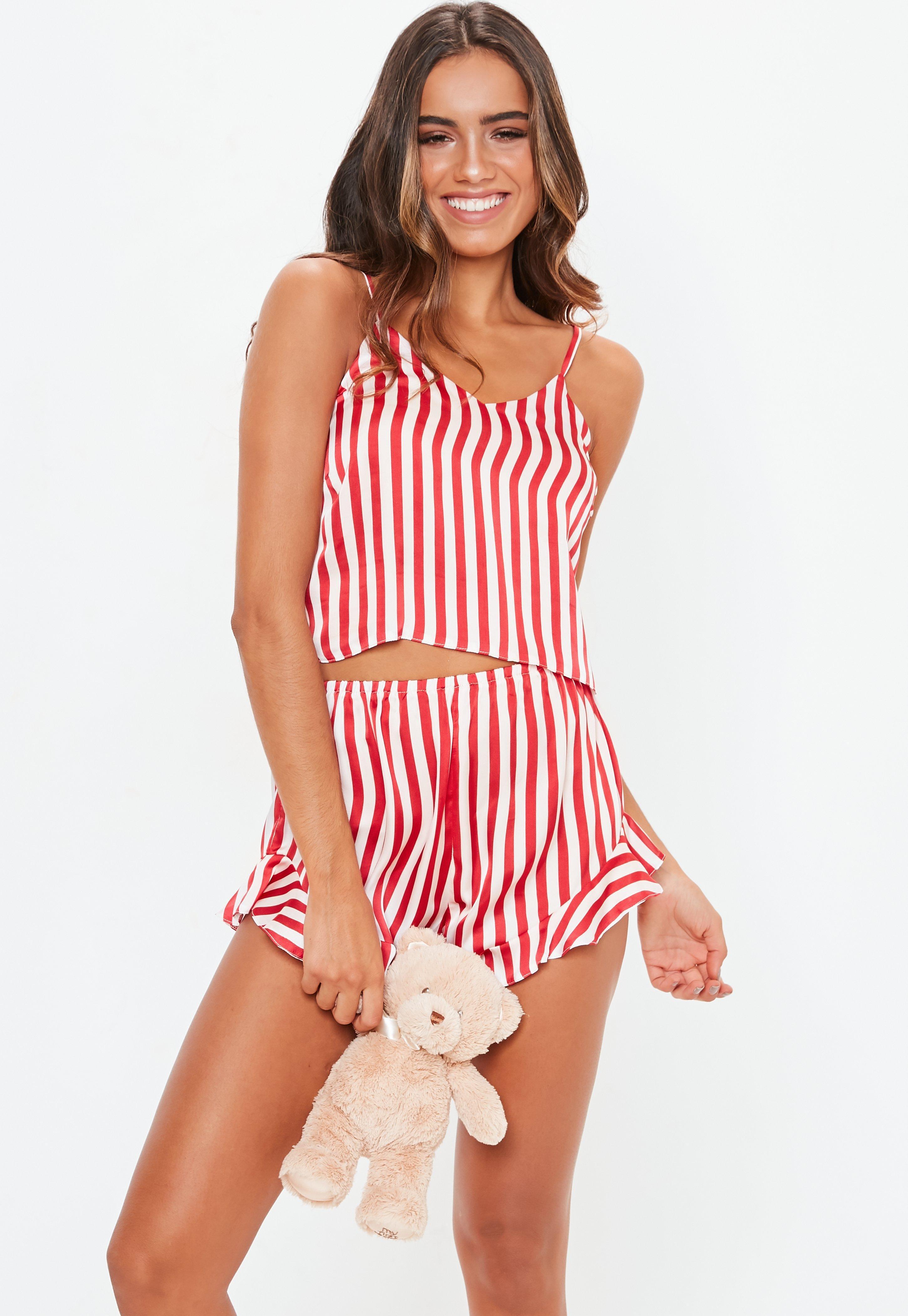 3d4b7b67fa92 Lyst - Missguided Red Candy Stripe Cami Satin Pyjama Set in Red ...