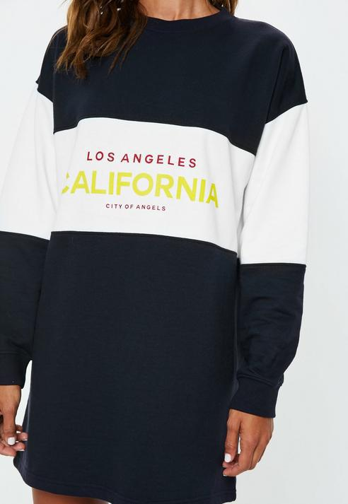 dfd39e25c6f Missguided Navy Oversized Colourblock California Slogan Sweater ...
