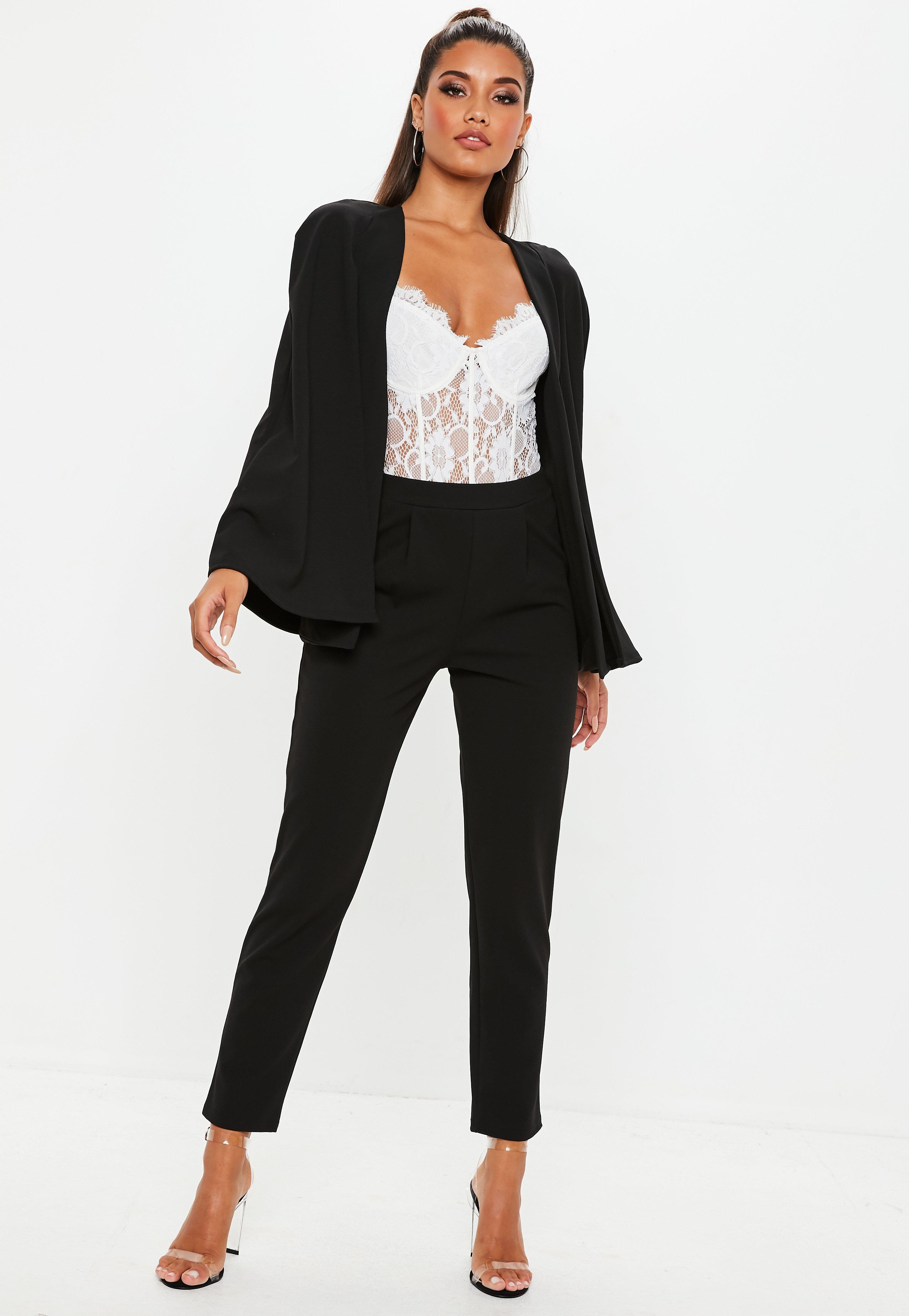 246421ee6ff Lyst missguided black stretch crepe cape blazer in black jpg 2900x4200 Cape  blazer crepe