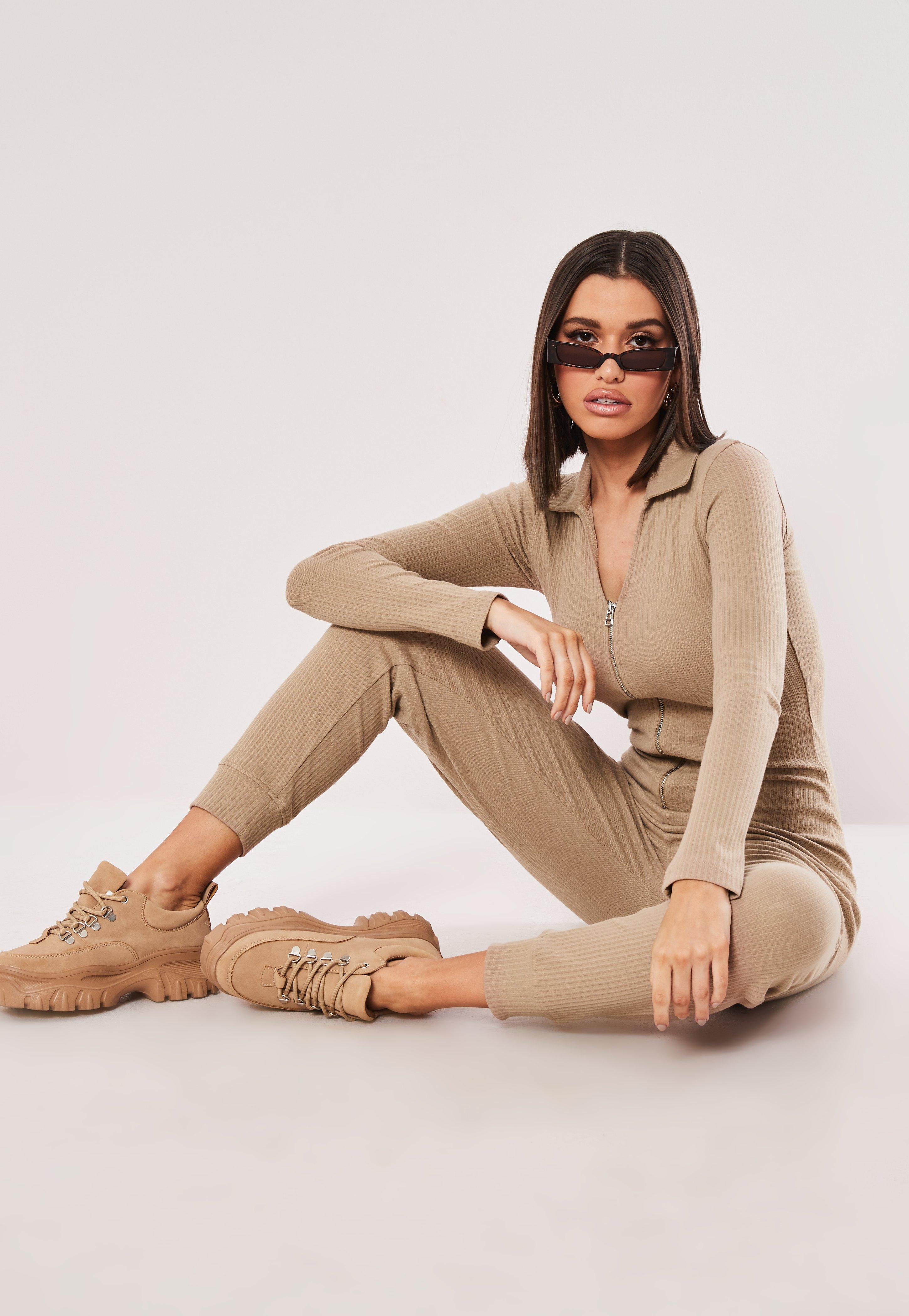 f4710c47ae Missguided Camel Zip Collar Ribbed Jumpsuit in Natural - Lyst