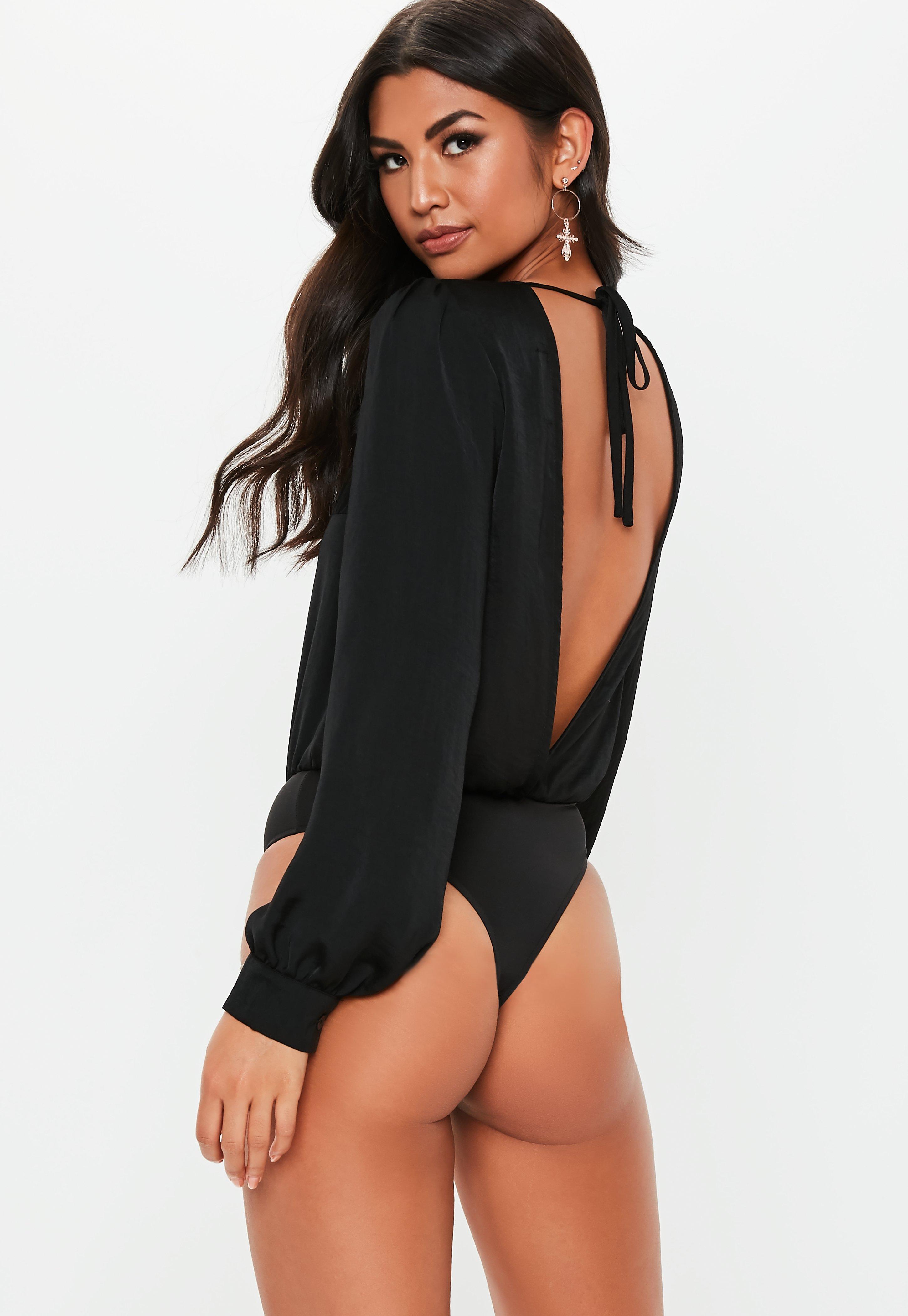 Missguided - Black Long Sleeve Plunge Bodysuit - Lyst. View fullscreen d0abbbd5f