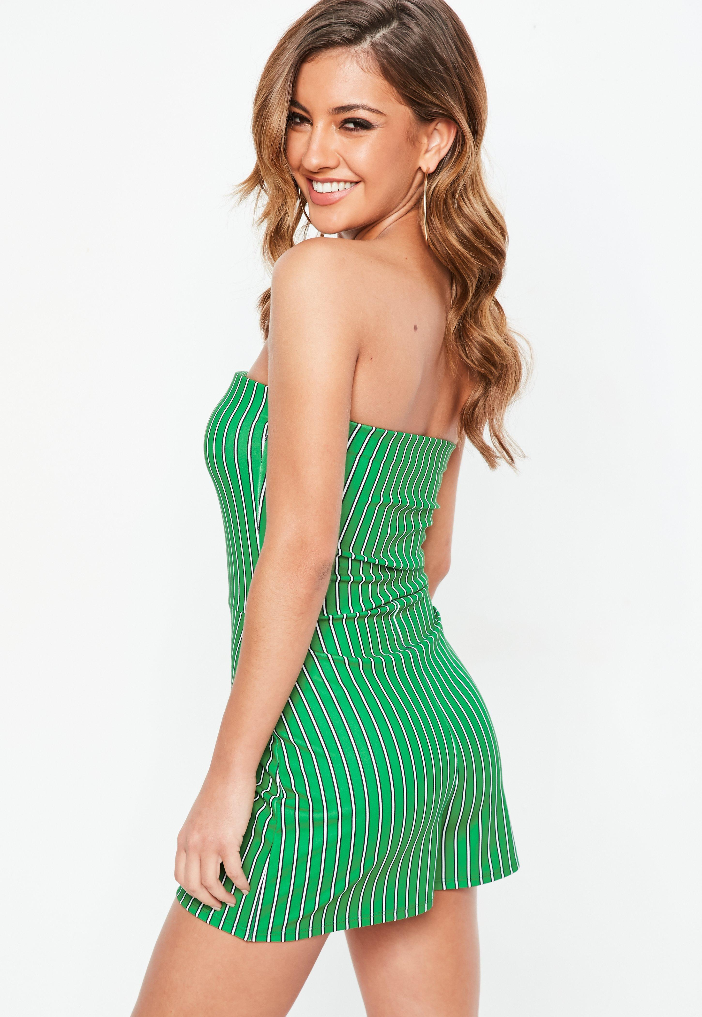 6f2e54c0e0c Missguided Green Stripe Wrap Bandeau Playsuit in Green - Lyst