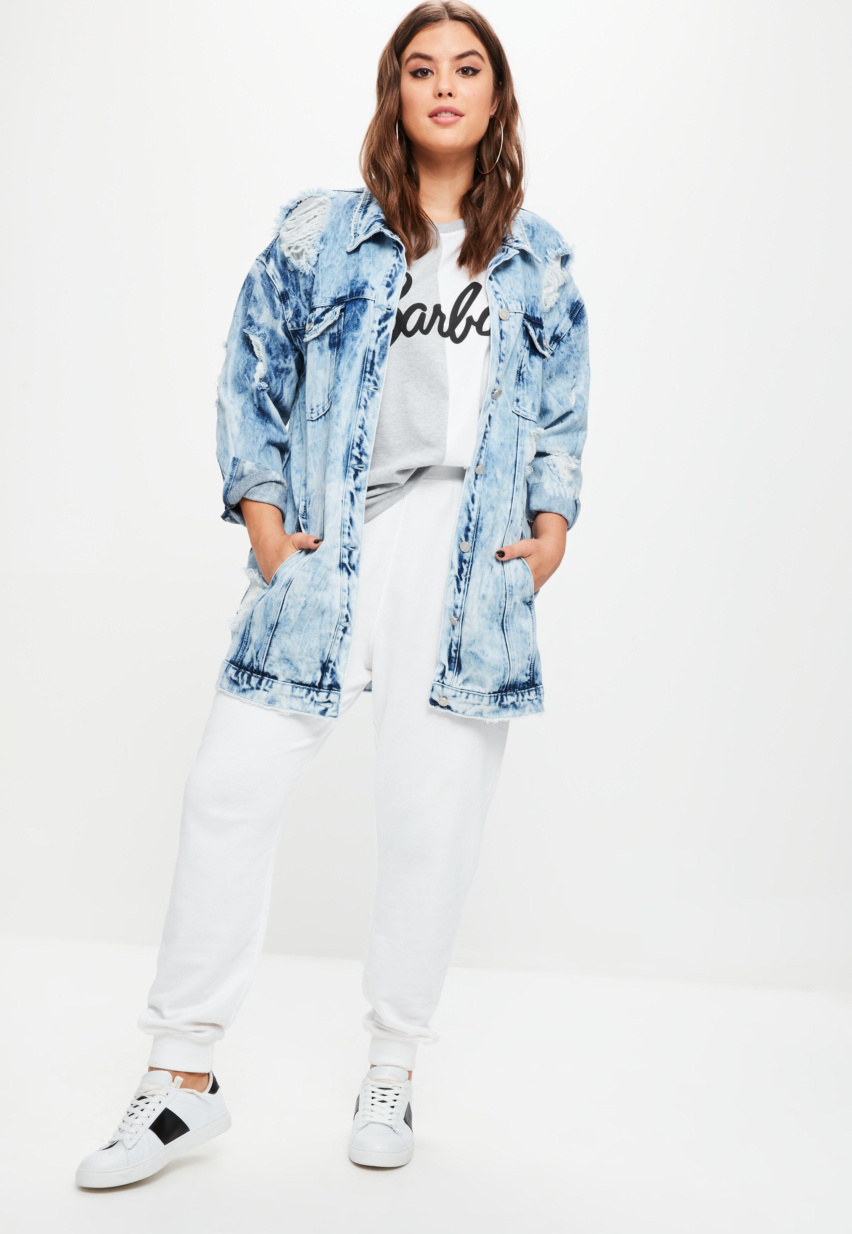 77cc62f14897e Lyst - Missguided Plus Size Barbie X Blue Barbie Denim Jacket in Blue