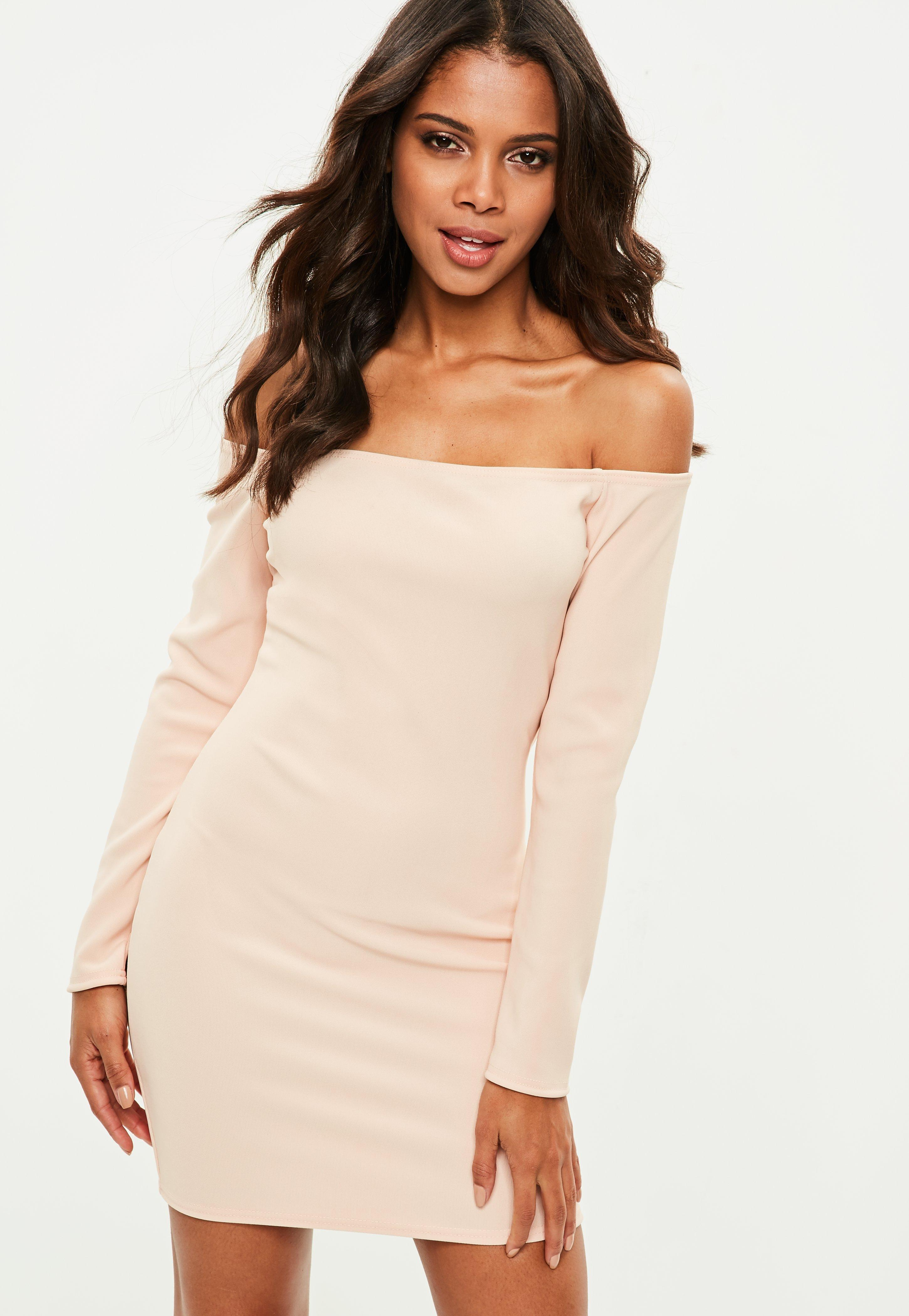 c2030c6be4 Missguided Pink Ribbed Long Sleeve Bardot Bodycon Dress in Pink - Lyst