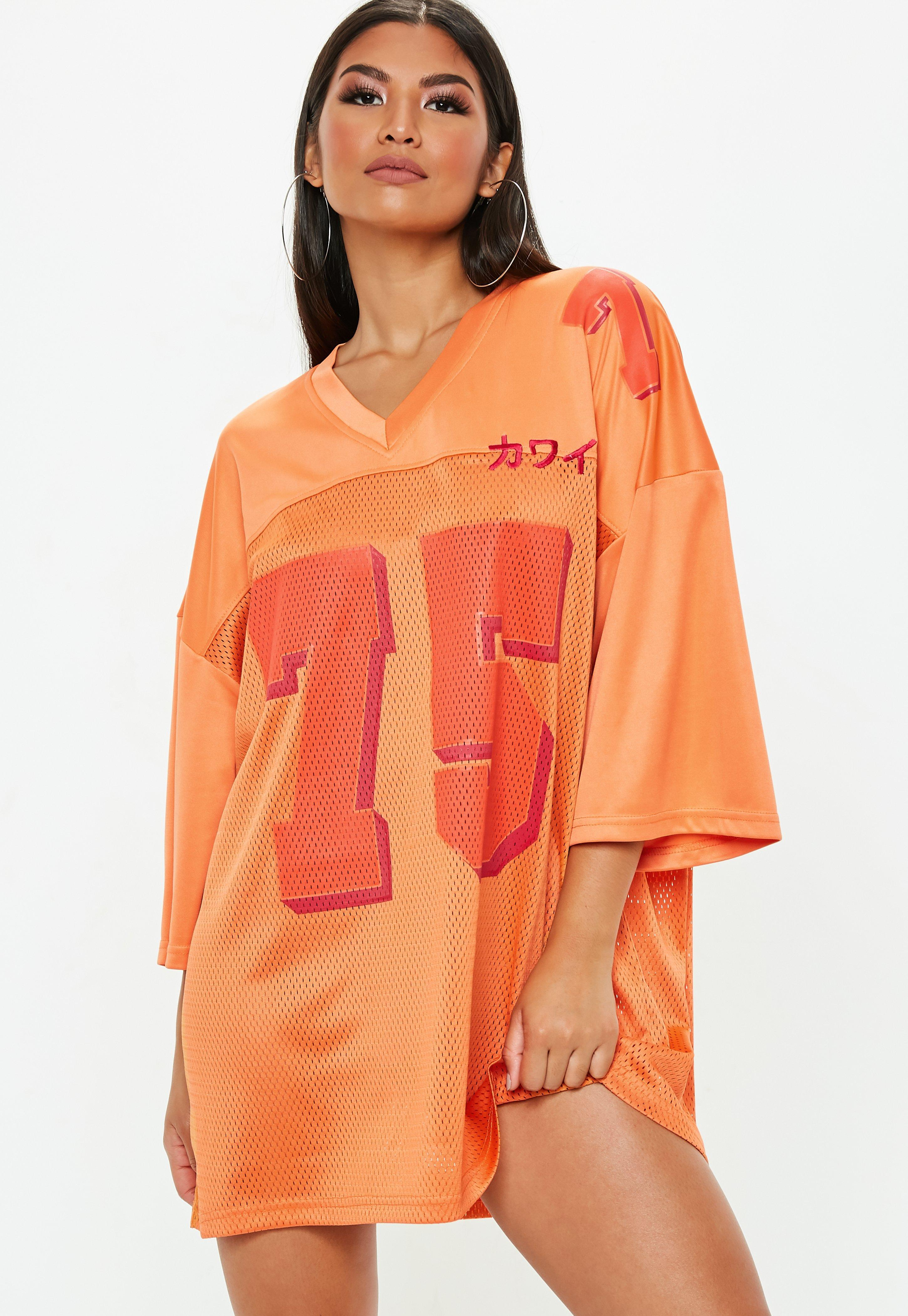 ddcadd587 Lyst - Missguided Orange Oversized Football Jersey Dress in Orange