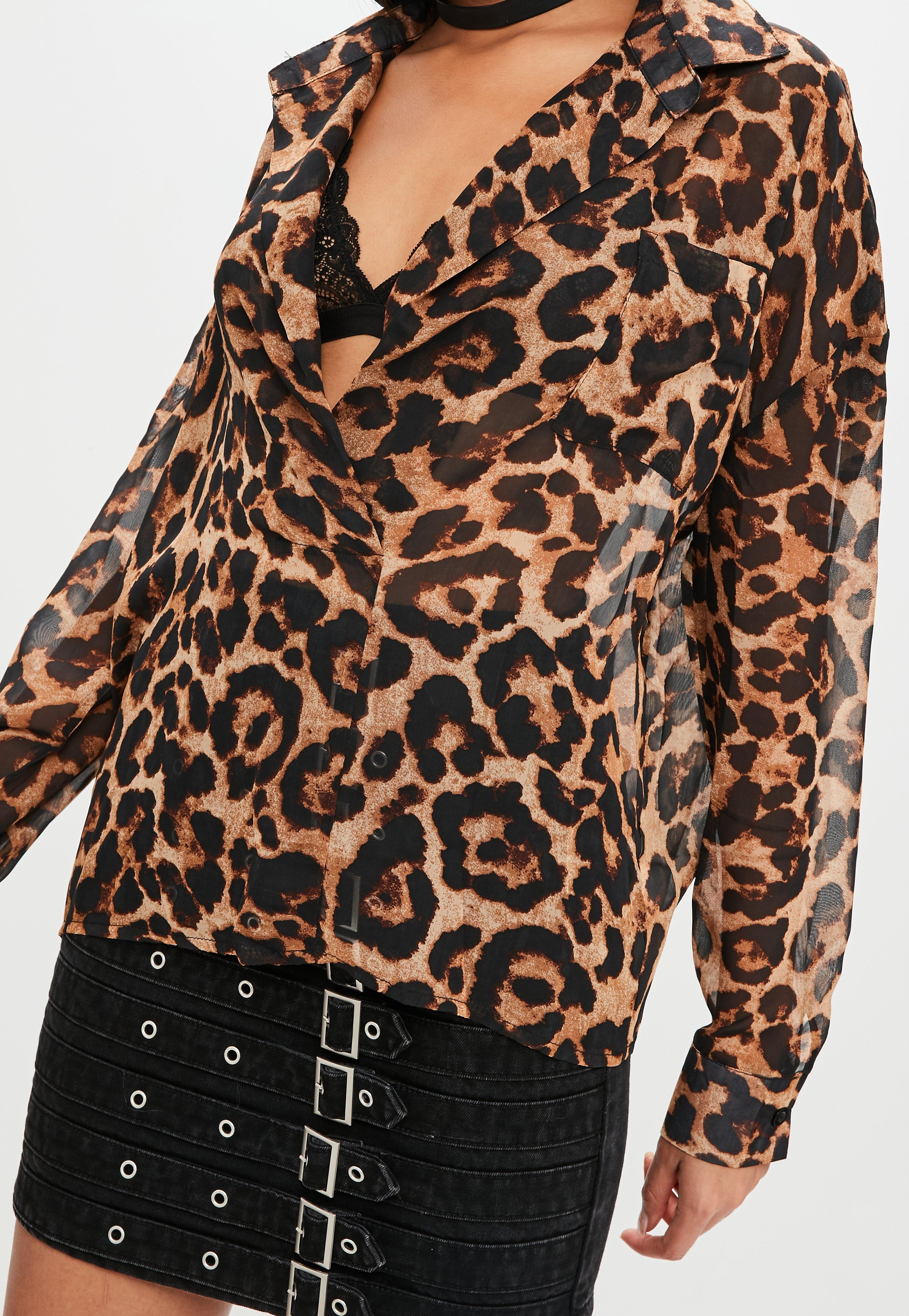434eb748bb3b1e Missguided Tall Brown Animal Print Oversized Shirt in Brown - Lyst