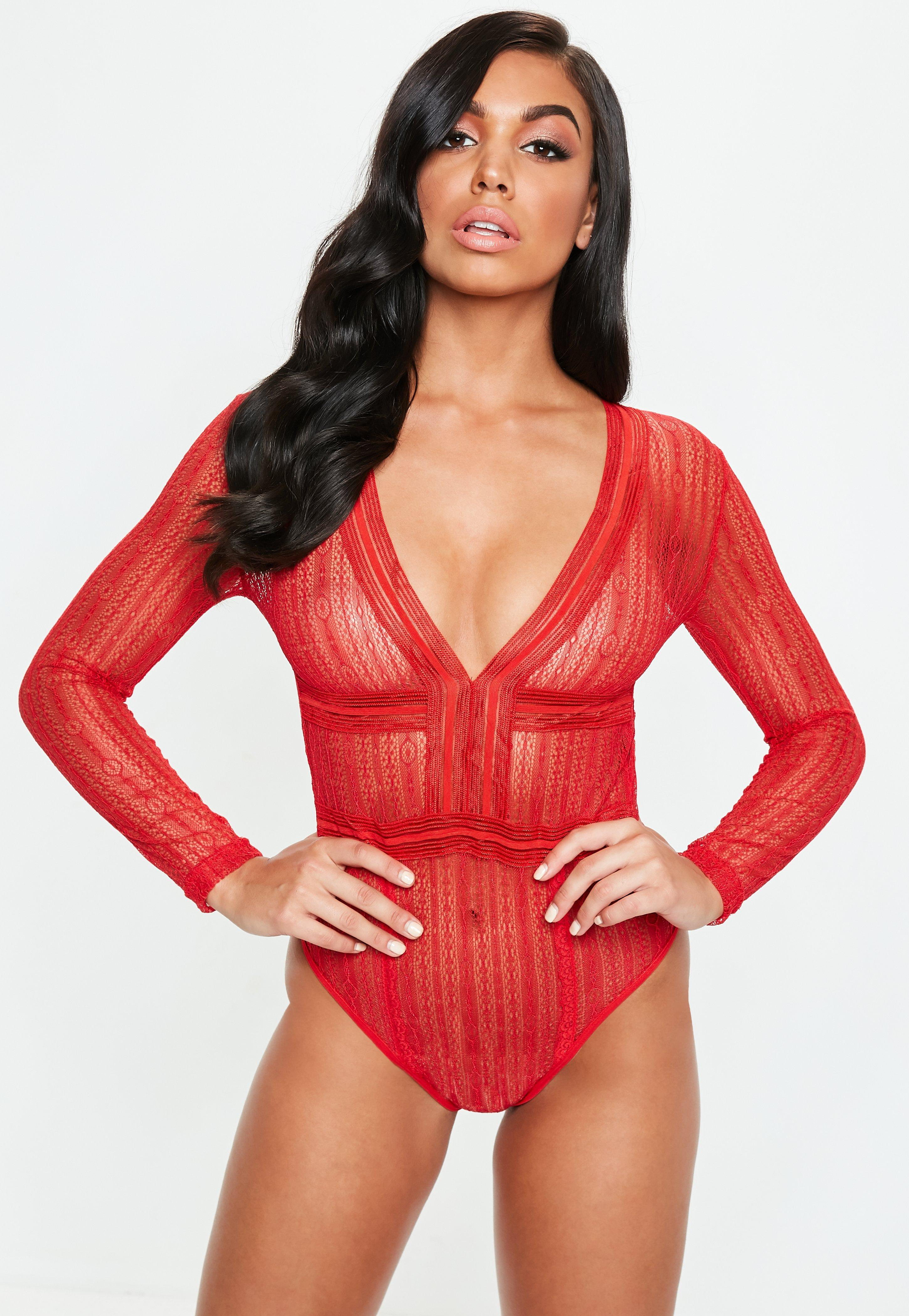 Lyst - Missguided Red Long Sleeve Plunge Lace Bodysuit in Red c850df826