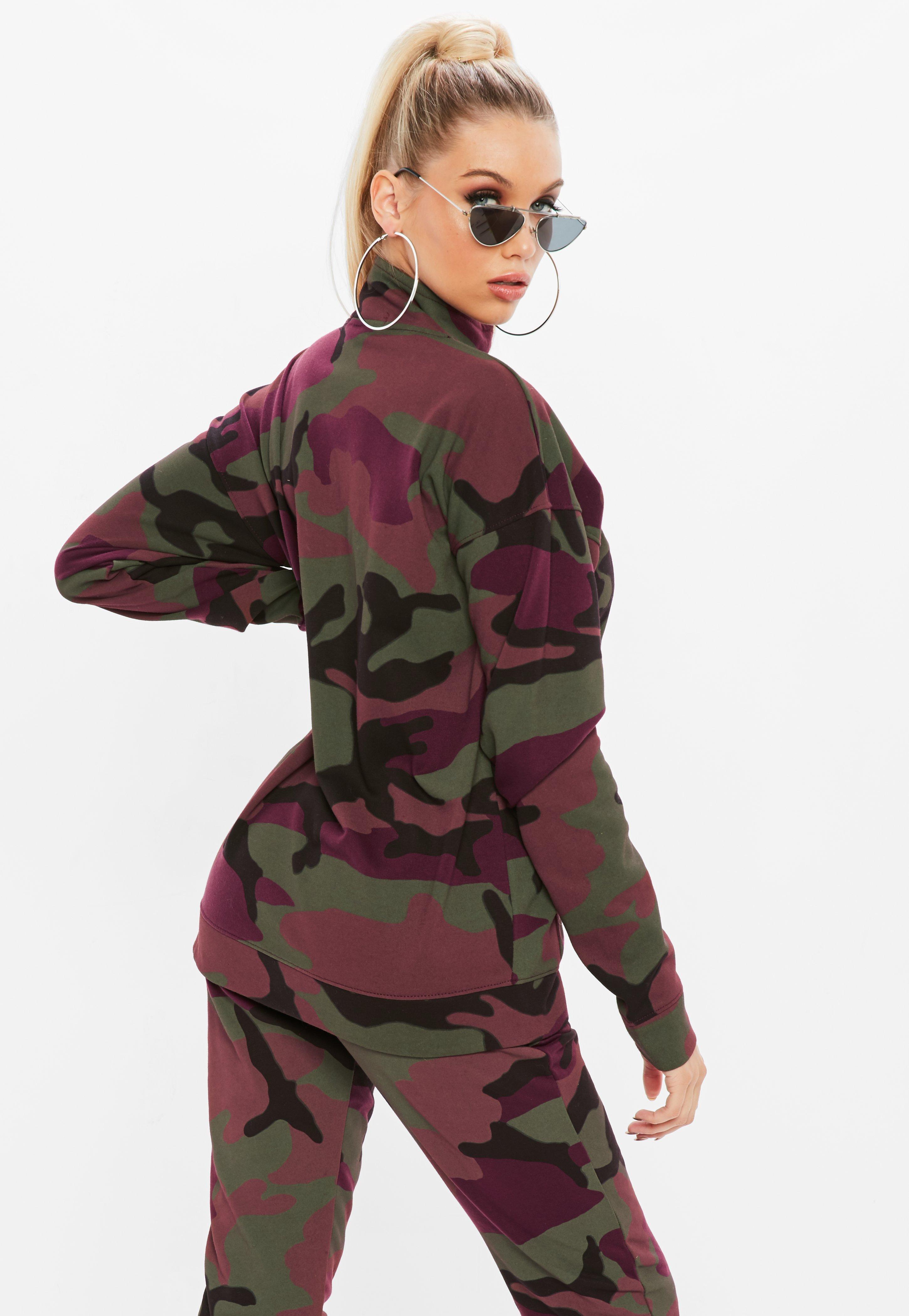 7b3dd10c27162 Missguided Burgundy Oversized Zip Through Camo Jacket - Lyst