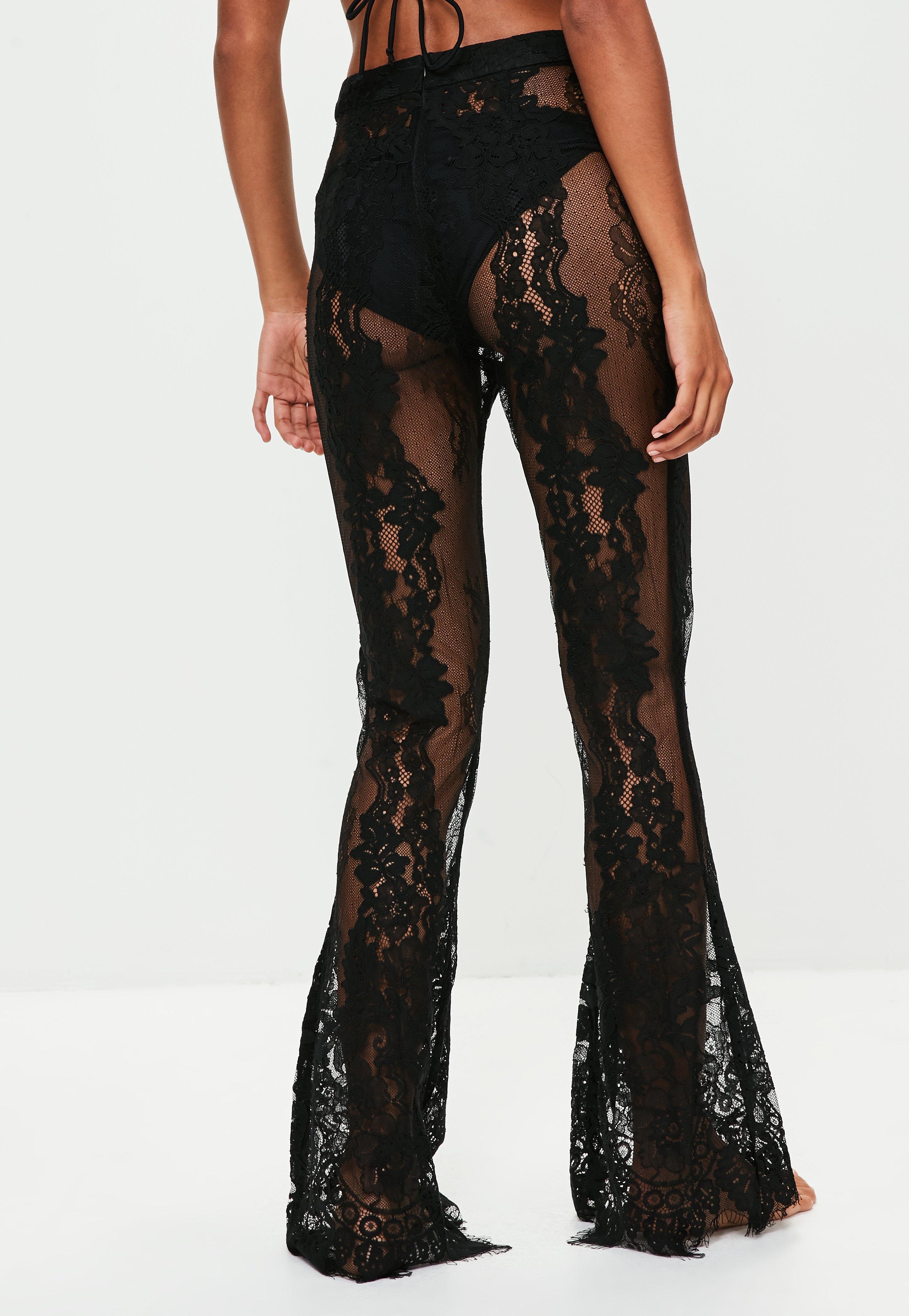 3514b125ef Missguided - Black Premium Lace Beach Trousers - Lyst. View fullscreen
