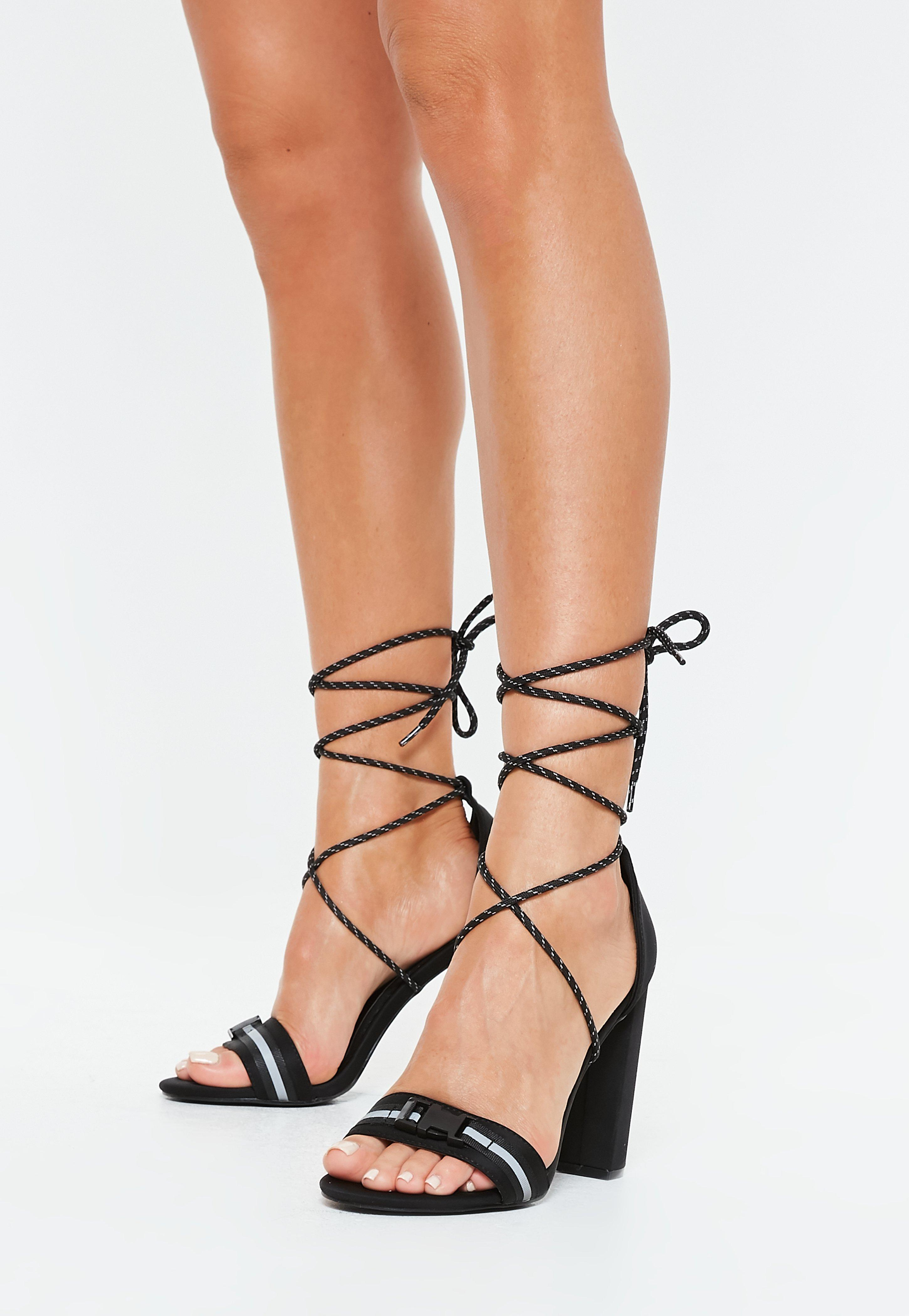 f8d382f1a487 Lyst - Missguided Black Reflective Strap Block Heel Sandals in Black