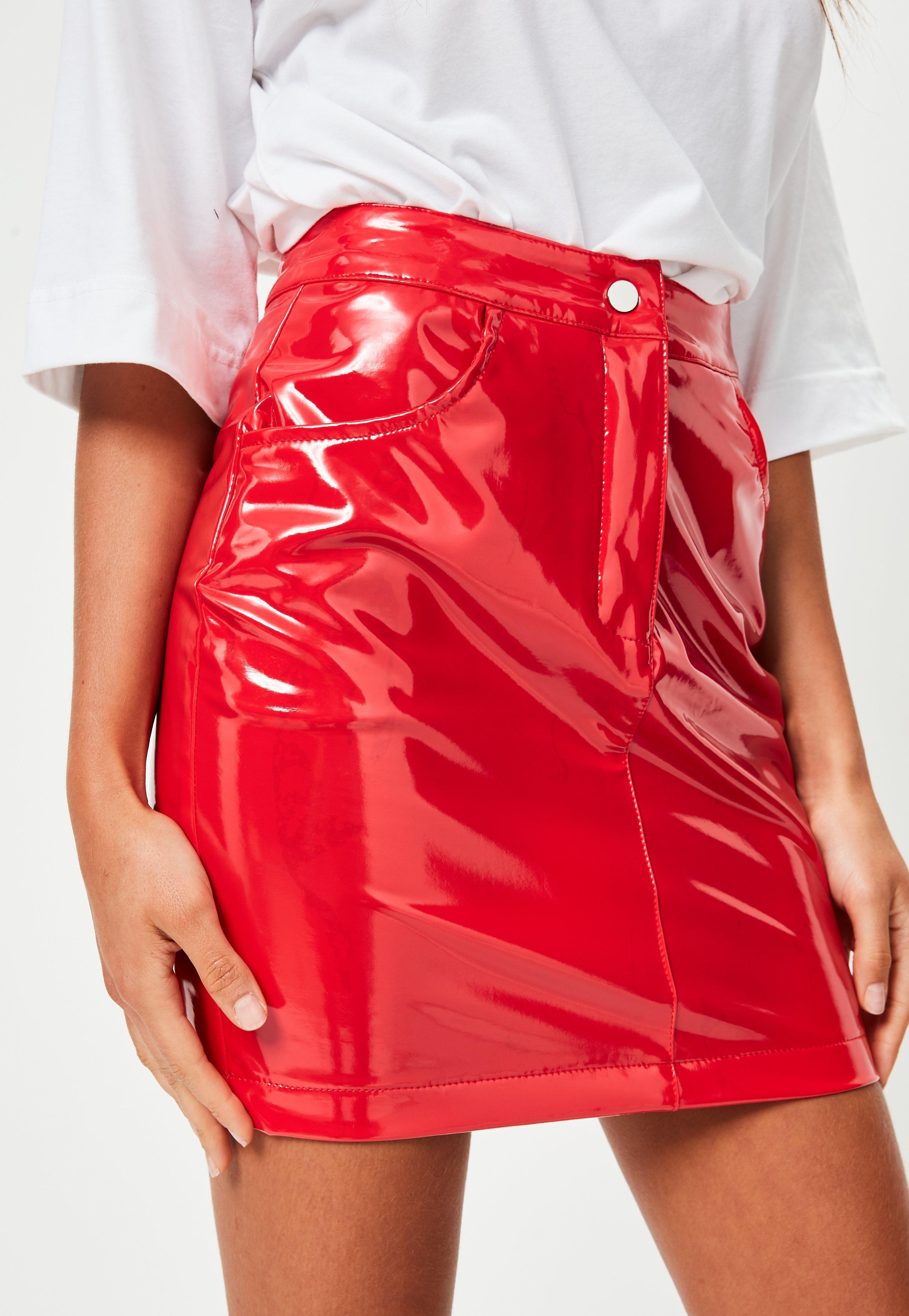 Lyst Missguided Red Vinyl Mini Skirt In Red