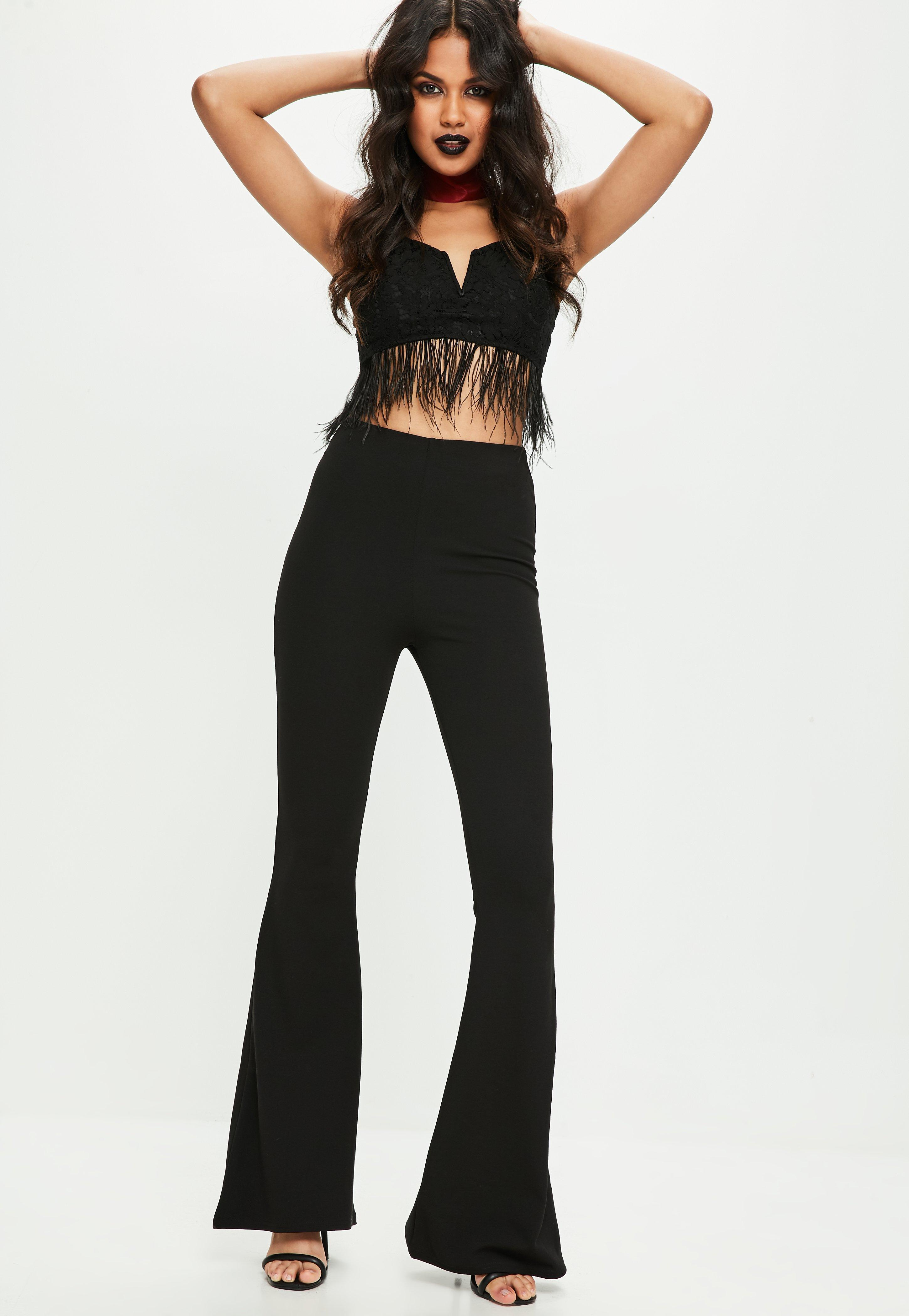 3bbd2d3b84980 Missguided - Black Lace Feather Trim Bralet - Lyst. View fullscreen