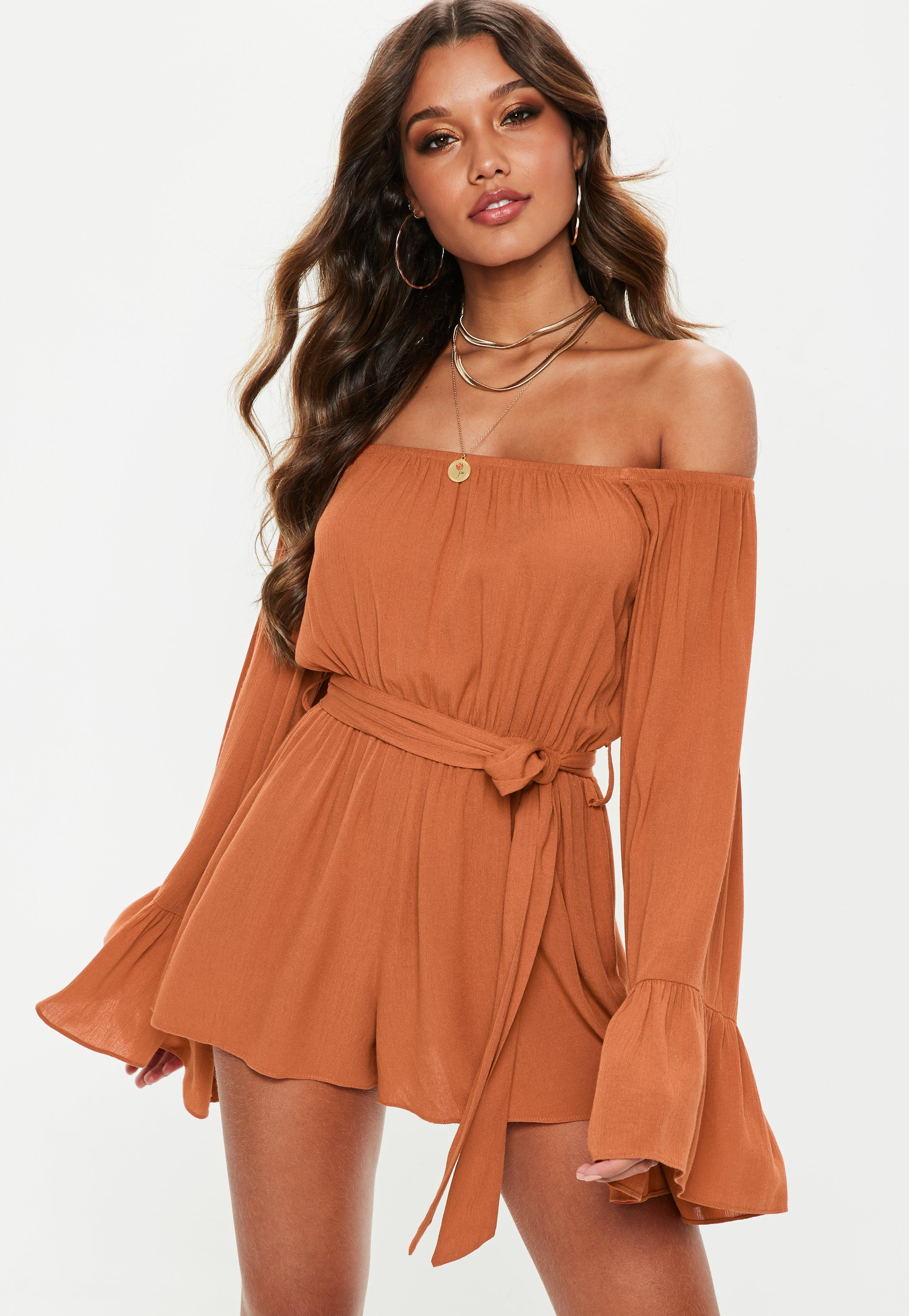 c77f00be7ac Lyst - Missguided Rust Flare Sleeve Bardot Playsuit in Brown