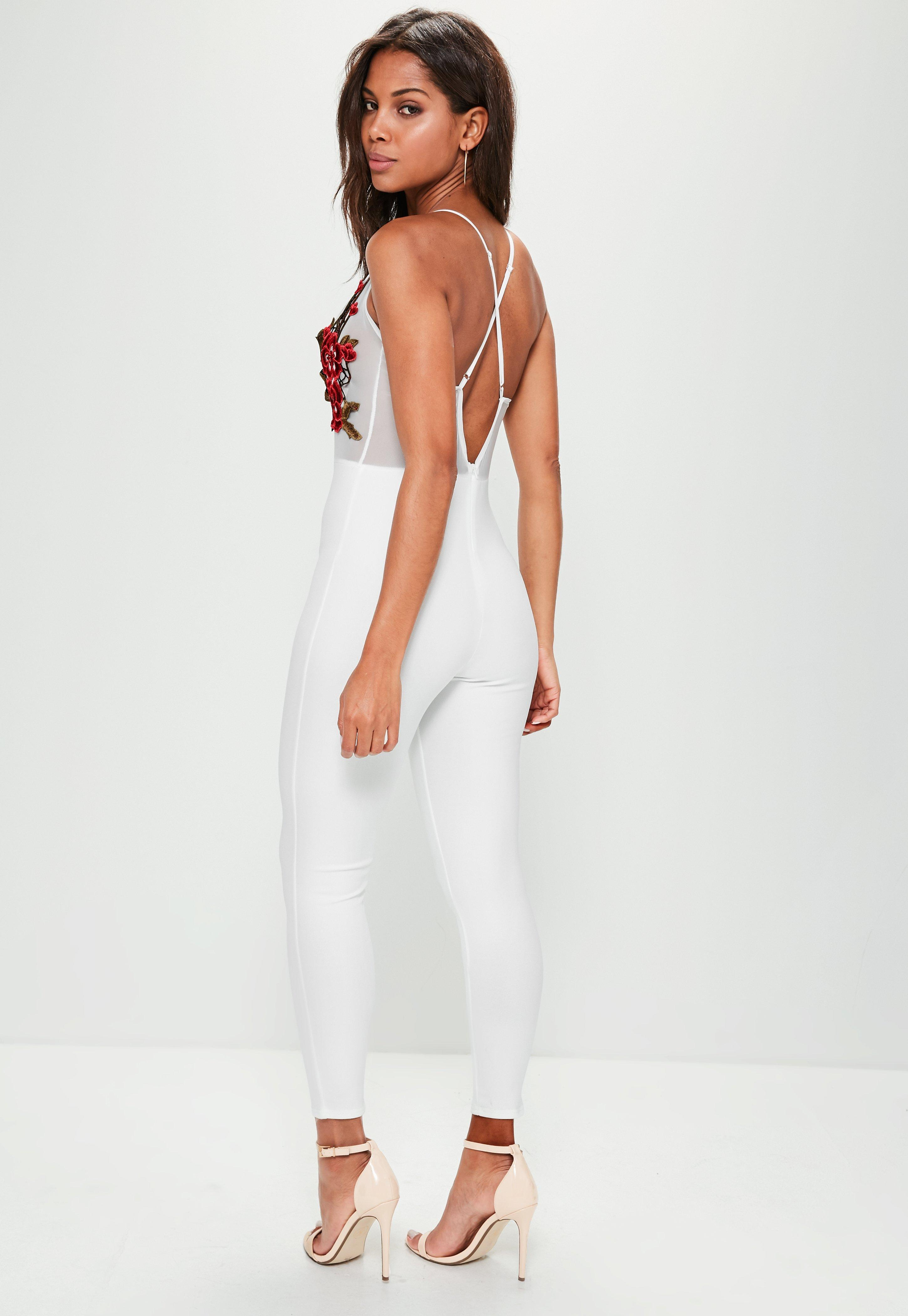 2bd403ee6963 Missguided White Strappy Embroidered Mesh Plunge Jumpsuit in White ...
