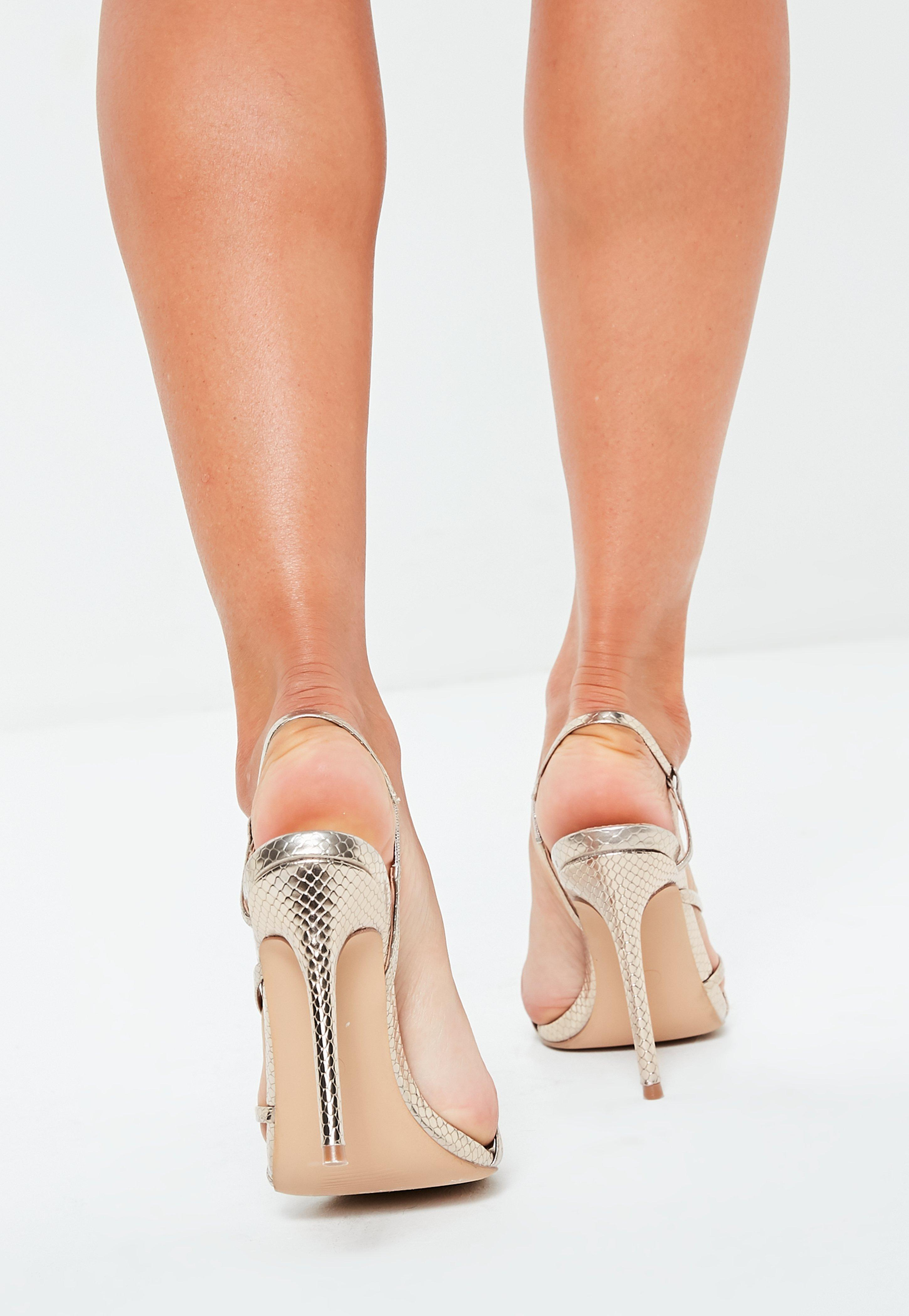 a396528bbbcc13 Lyst - Missguided Gold Asymmetric Multi Strap Heel Sandals in Metallic