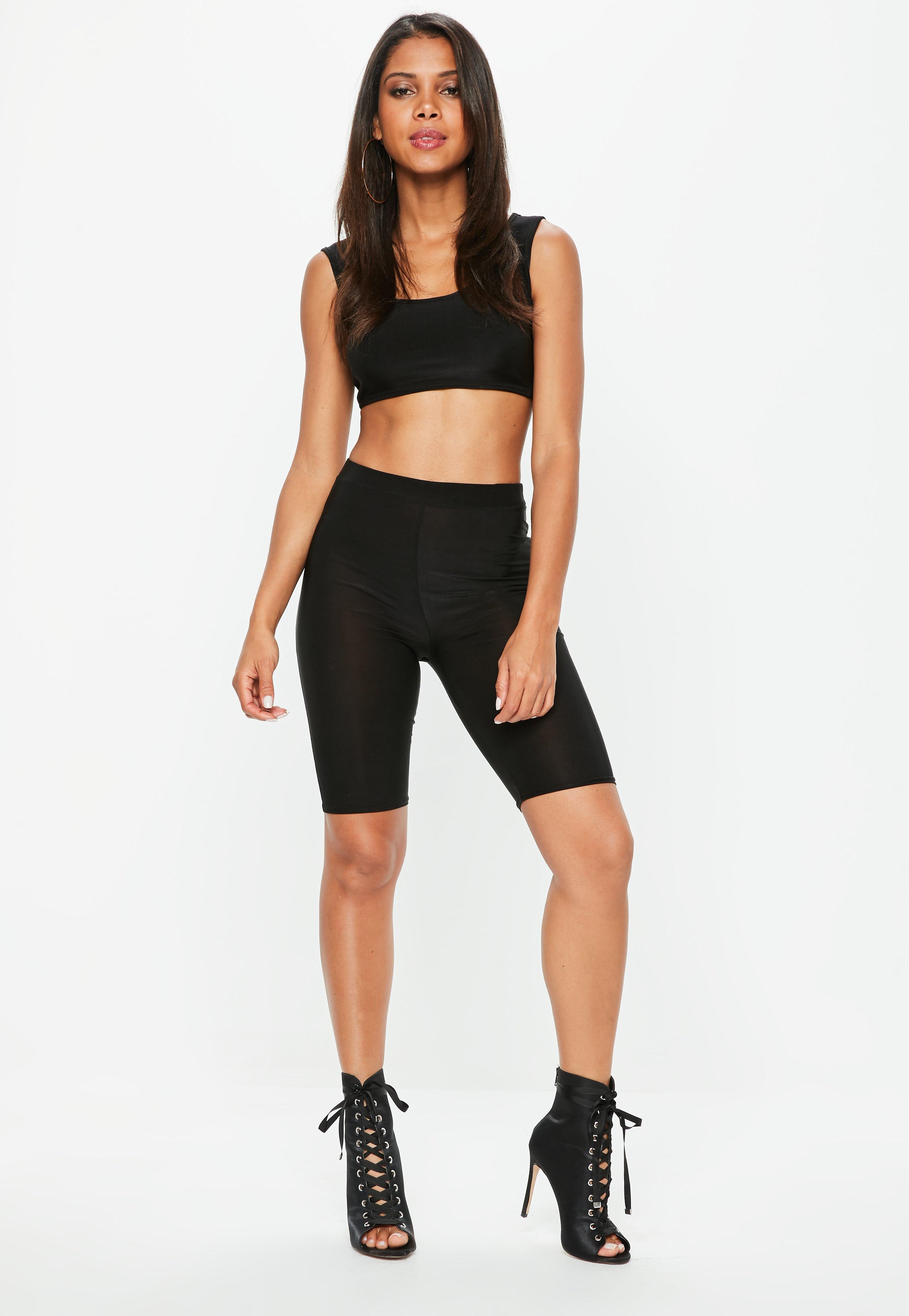 a50ae46232b70f Lyst - Missguided Black Disco Slinky Cycling Shorts in Black