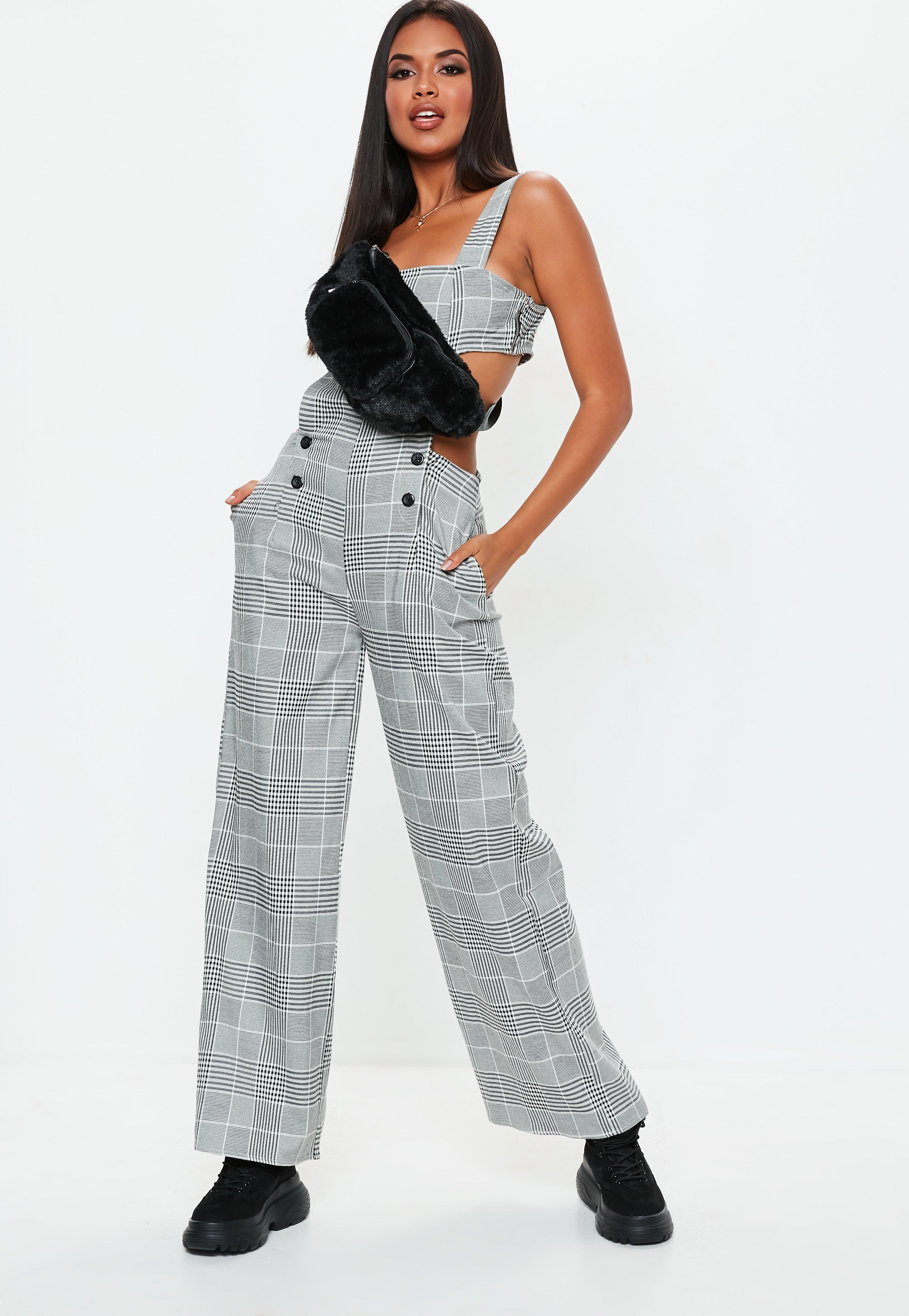 60c037417ee7 Missguided Grey Check Cut Out Jumpsuit in Gray - Lyst