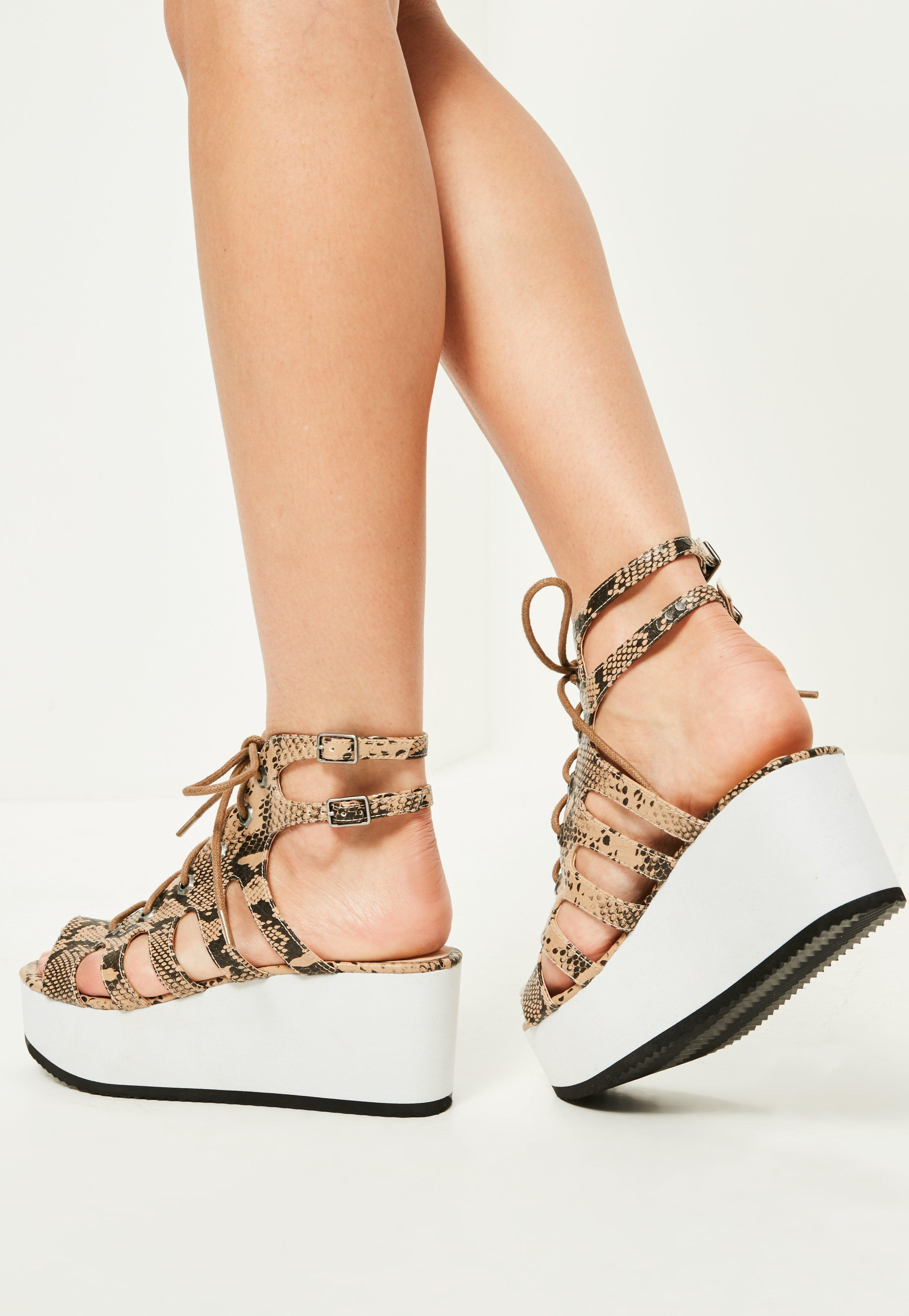 23ae754da951 Lyst - Missguided Nude Snake Print Lace Up Flatform Sandals in Natural